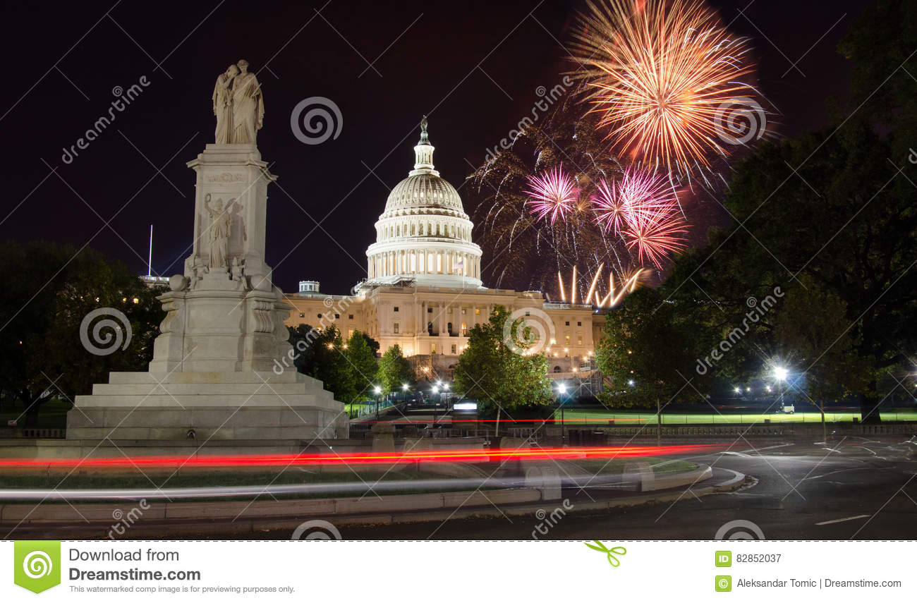 Fireworks over Capitol Hill and the peace monument