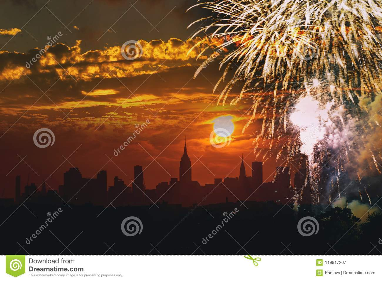 fireworks over manhattan new york city independence day 4th of july view of from