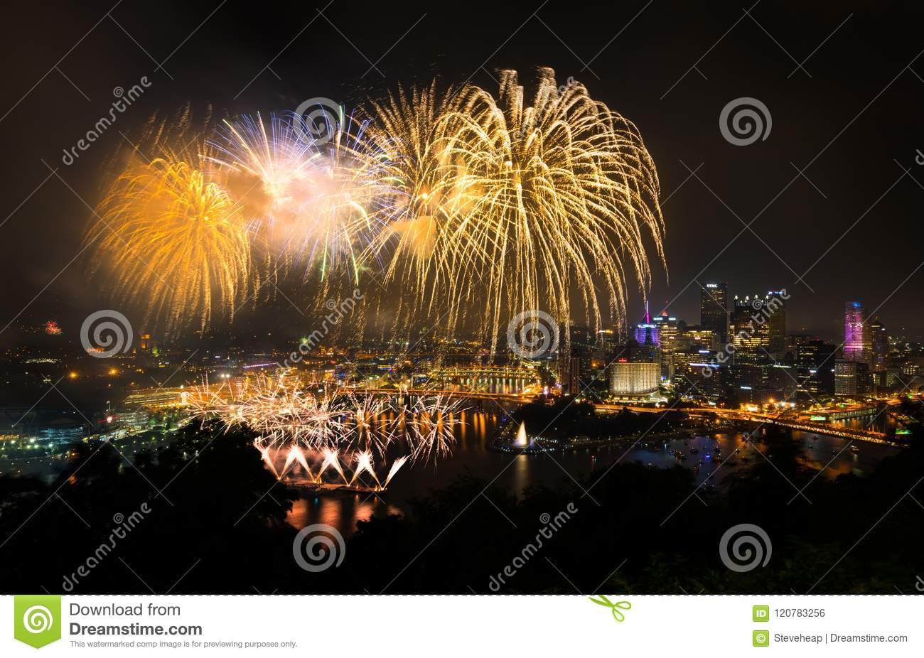 Fireworks over Pittsburgh for Independence Day