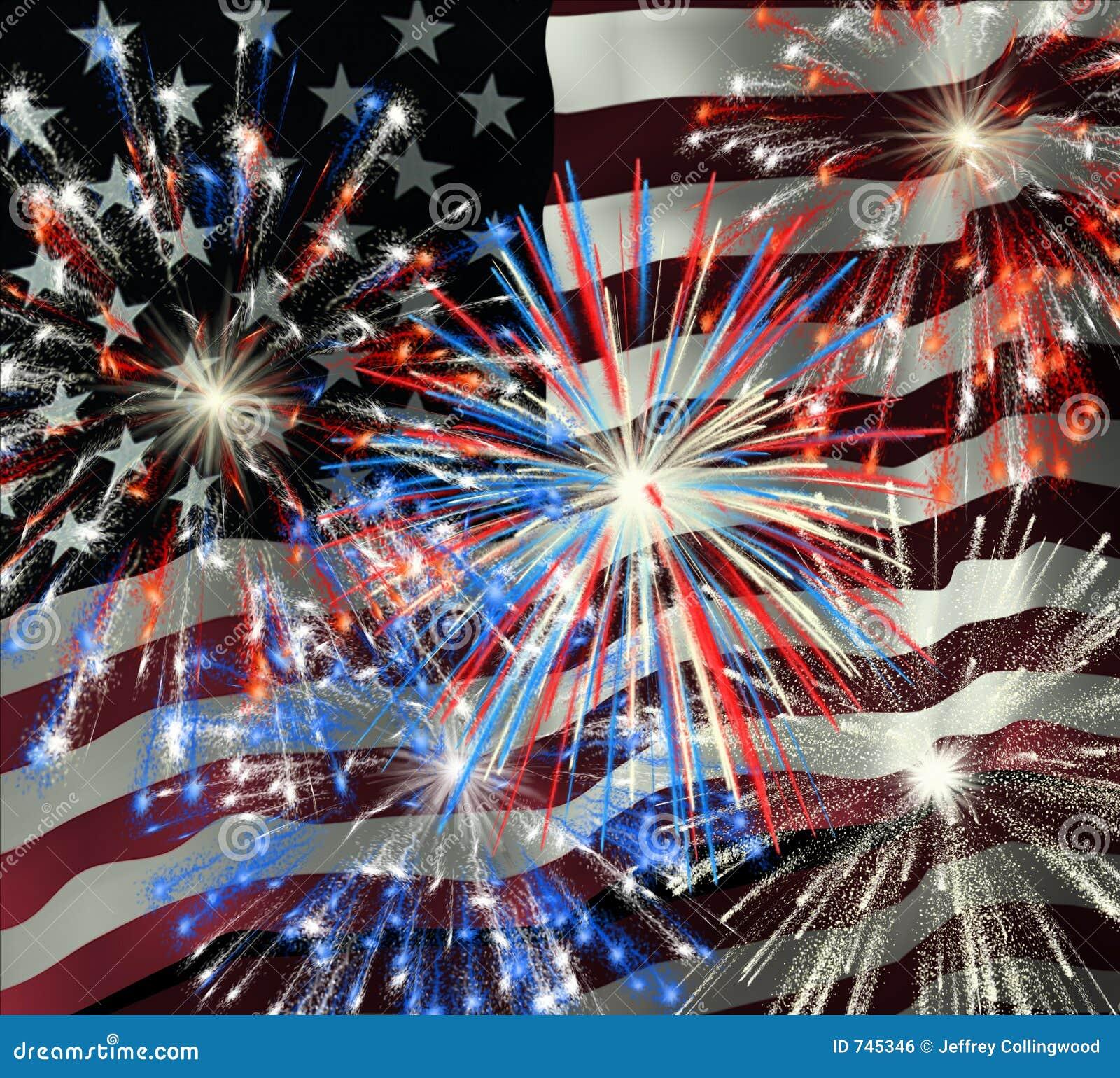 fireworks over us flag 2 stock illustration  illustration