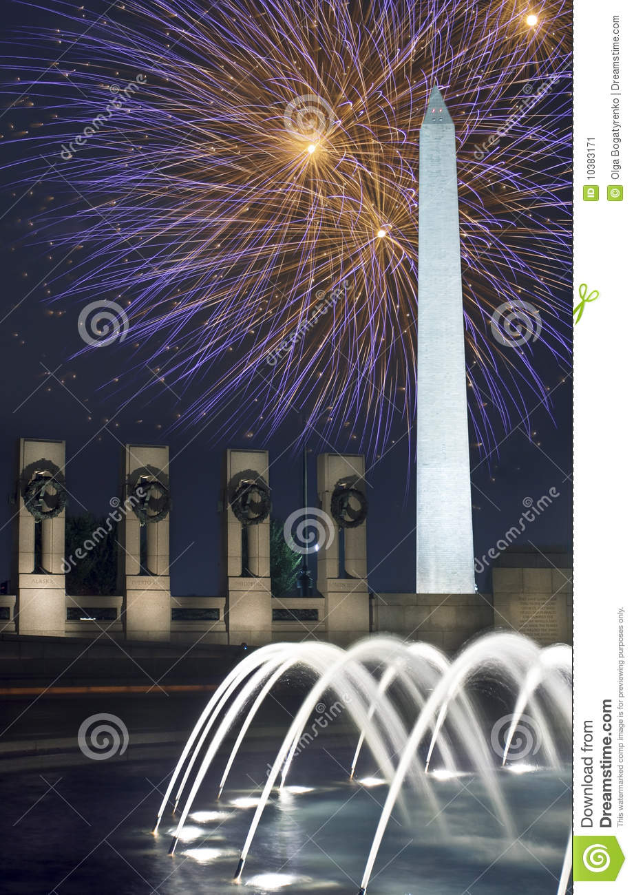 Fireworks over Washington Monument, DC, at Night