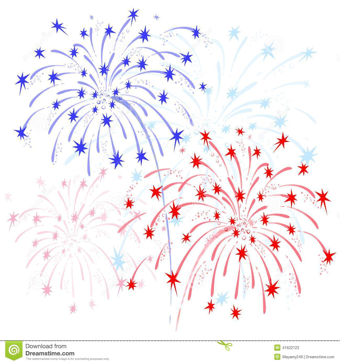 Red Firework Clip Art fireworks red and blue stock vector - image ...