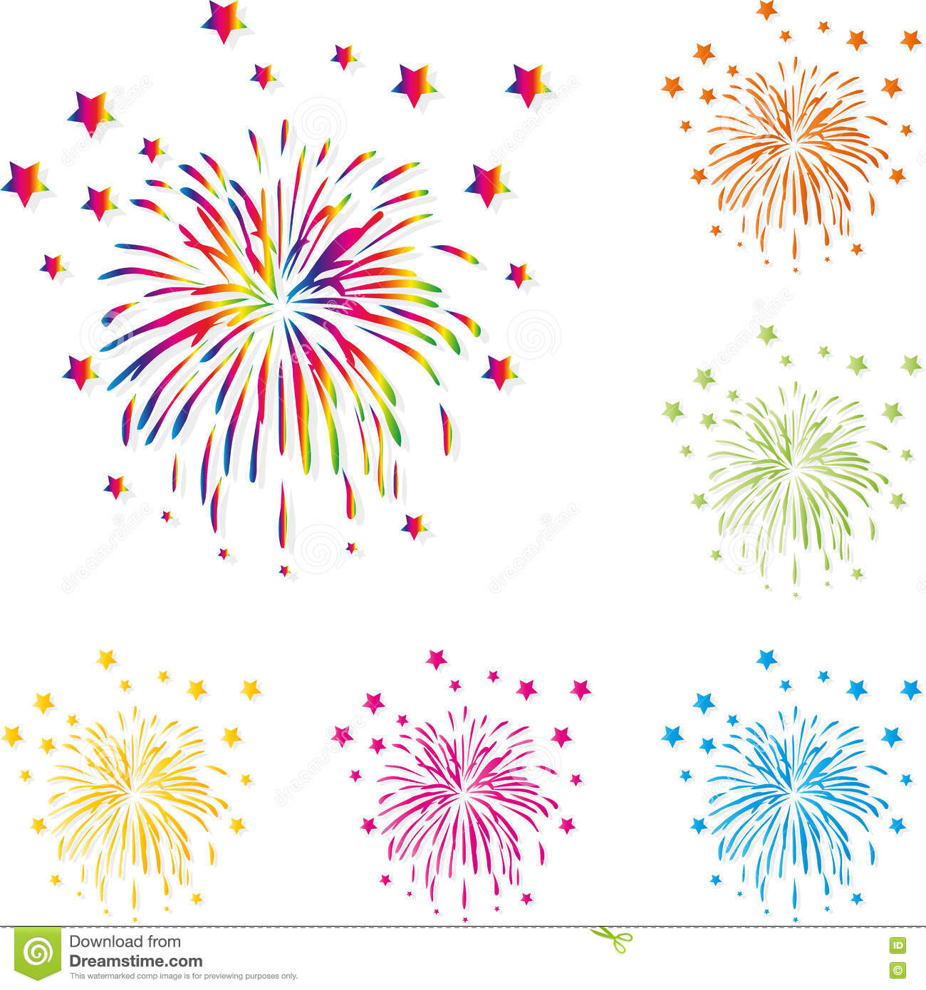 fireworks rockets explosion template set design stock vector