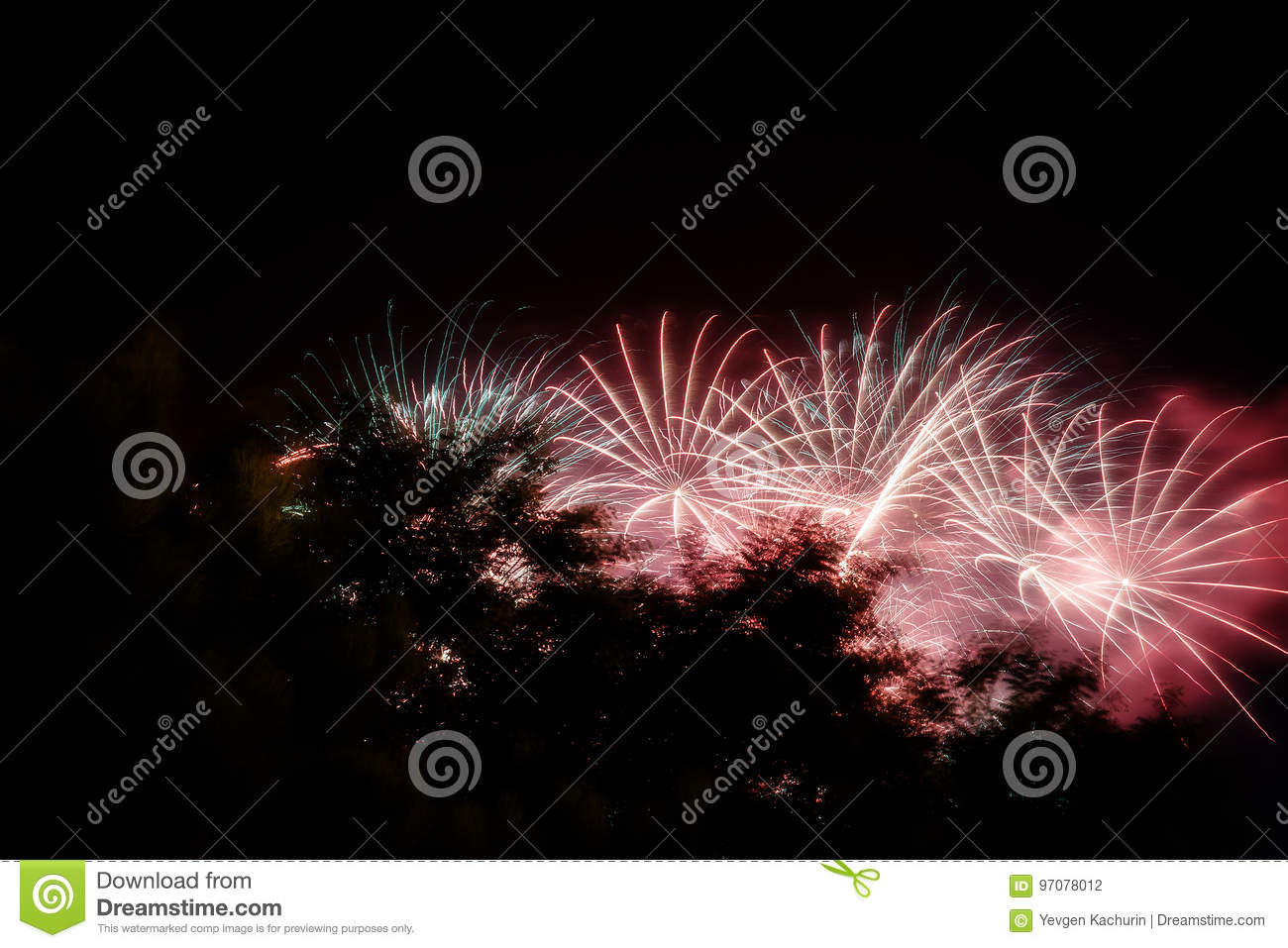 Fireworks, Salute In The Night Sky Stock Photo - Image of