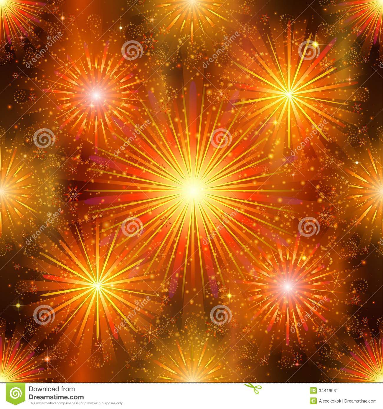 background seamless, gold and orange on night sky. Pattern for holiday ...