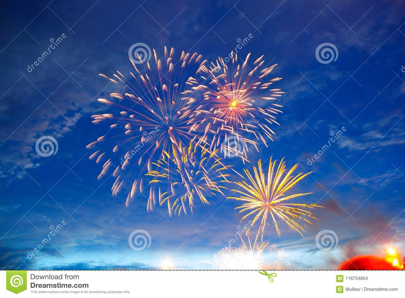 Fireworks in sky twilight. Fireworks display on dark sky background. Independence Day, 4th of July, Fourth of July or New Year
