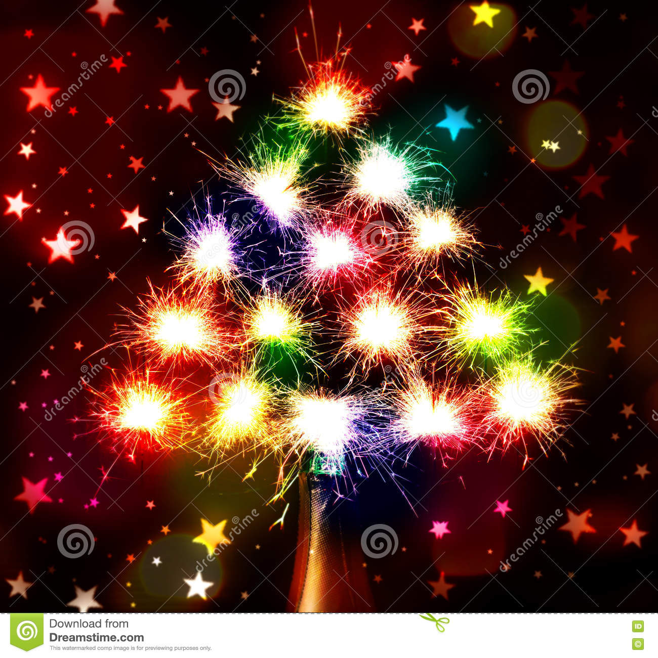 fireworks sparks bokeh blured on stars dark background from the bottle chmpagne