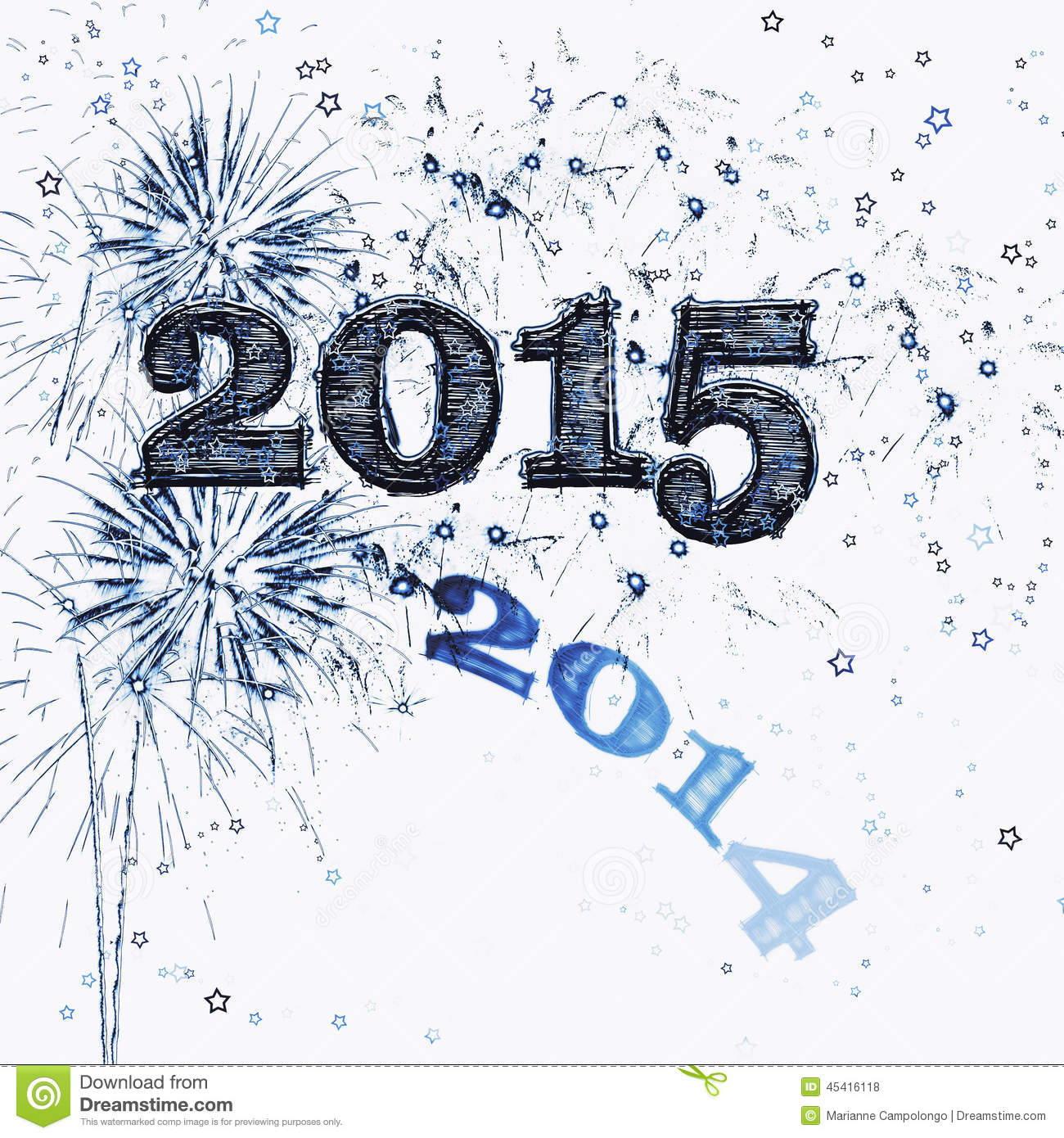 Fireworks And Stars Happy New Year 2015 Stock Illustration ...
