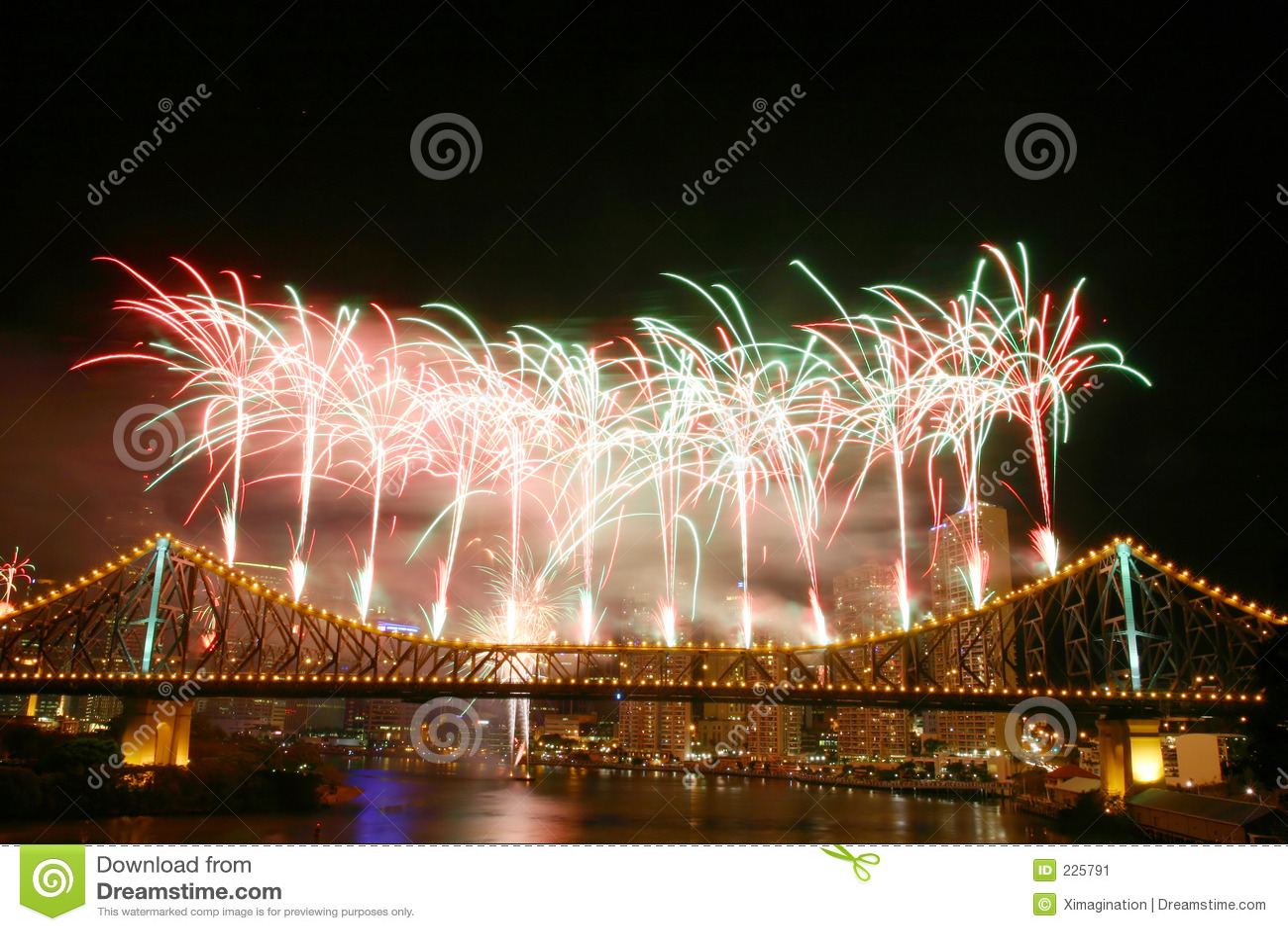 Download Fireworks at Story Bridge stock image. Image of festival - 225791