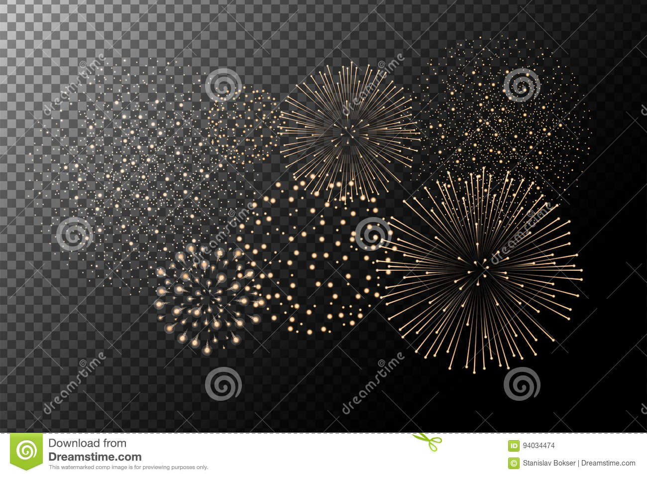 Fireworks on transparent background. Independence day concept. Festive and holidays background