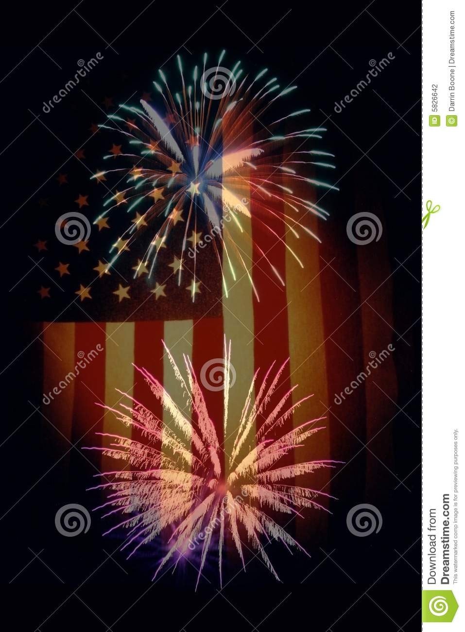 Fireworks And U S Flag Stock Photography Image 5826642