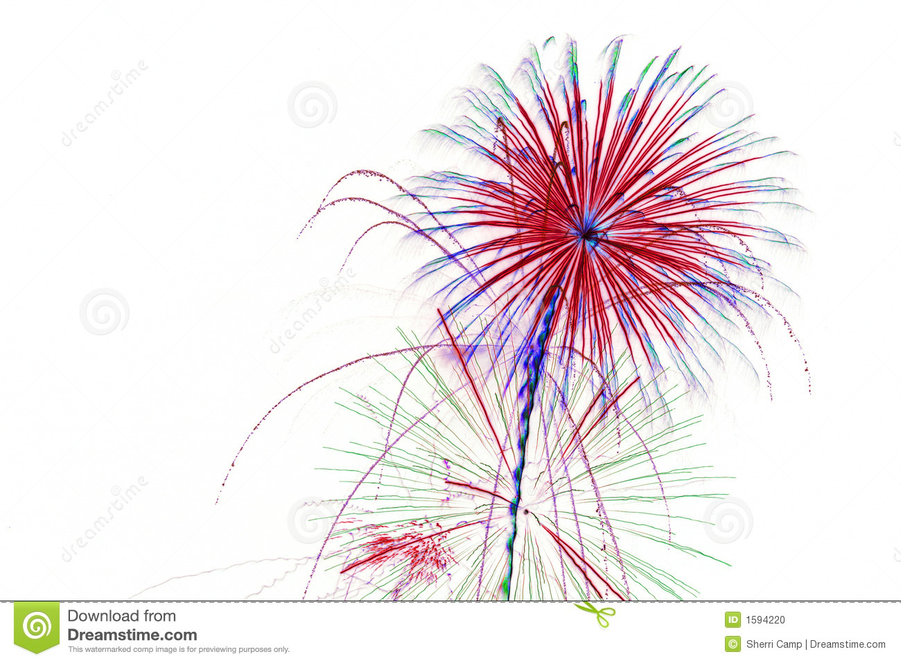 Fireworks On White Background Stock Photo - Image: 1594220