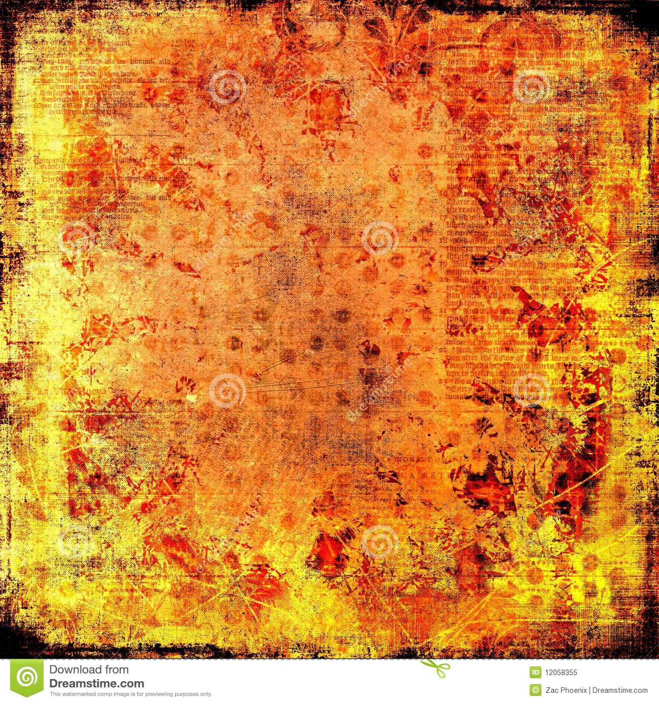 Firey Fire Burning Flames Paper Grungy Background Stock Image