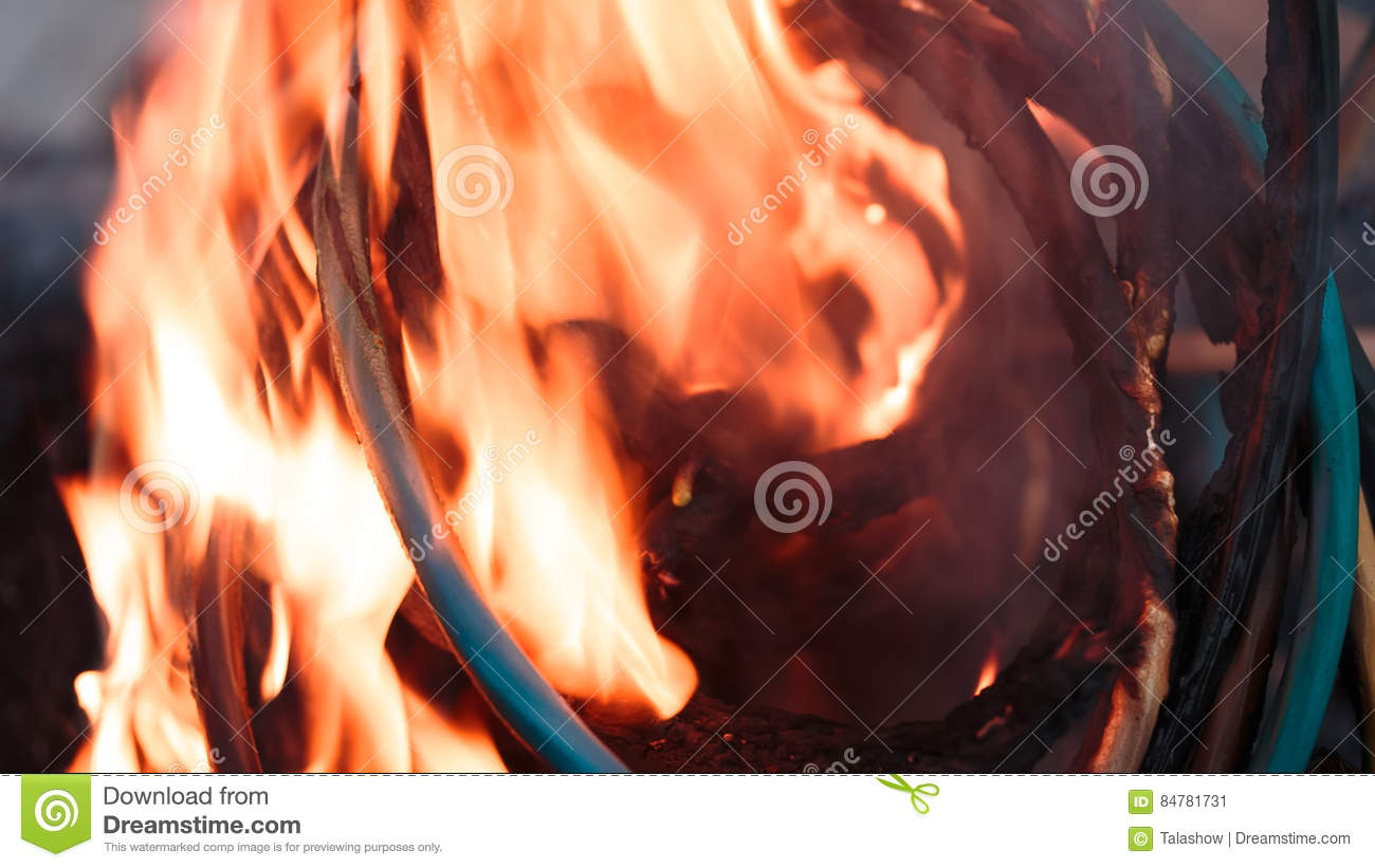 Firing Wire In Fire Stock Image Of Danger 84781731 Electrical Wiring Fires Wires On Winding Insulation The Close Up