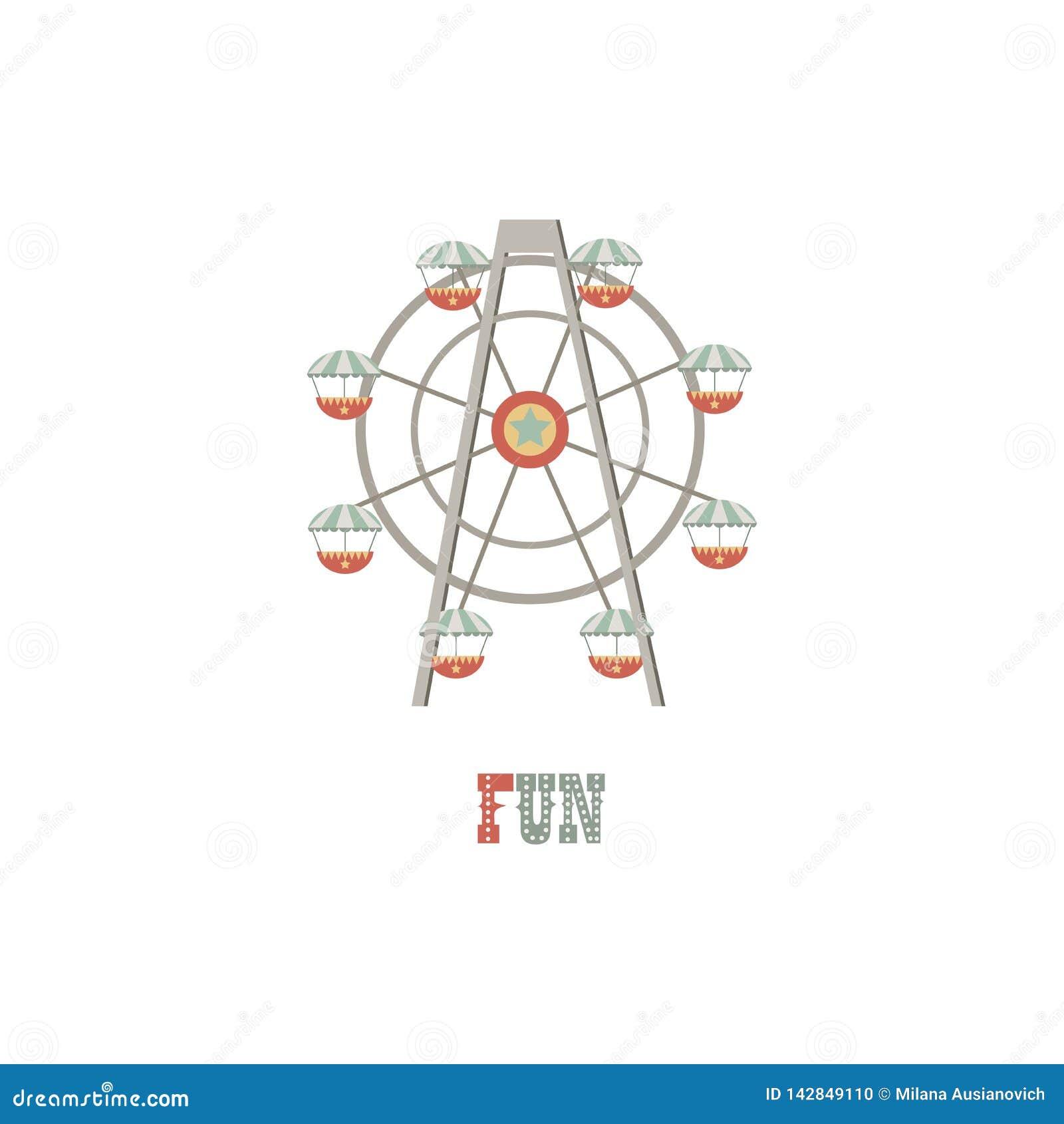 Firmenzeichenillustration Riesenrad auf weißem lokalisiertem Hintergrund