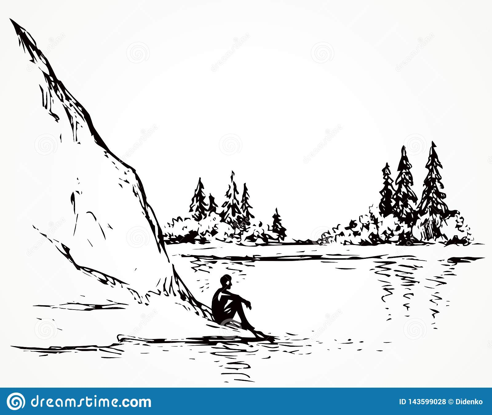firs on hill above river vector drawing stock vector illustration of hand happy 143599028 https www dreamstime com firs hill above river vector drawing cliff calm remote alps scene high riverbank line black ink hand drawn sad lone young girl image143599028