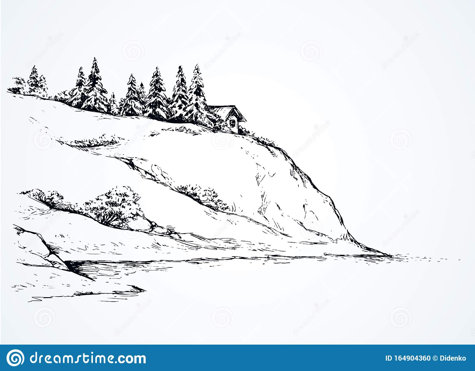 firs on hill above river vector drawing stock vector illustration of home countryside 164904360 https www dreamstime com firs hill above river vector drawing rustic cliff bush spruce scene high riverbank alpine waterfront camp chalet space text image164904360