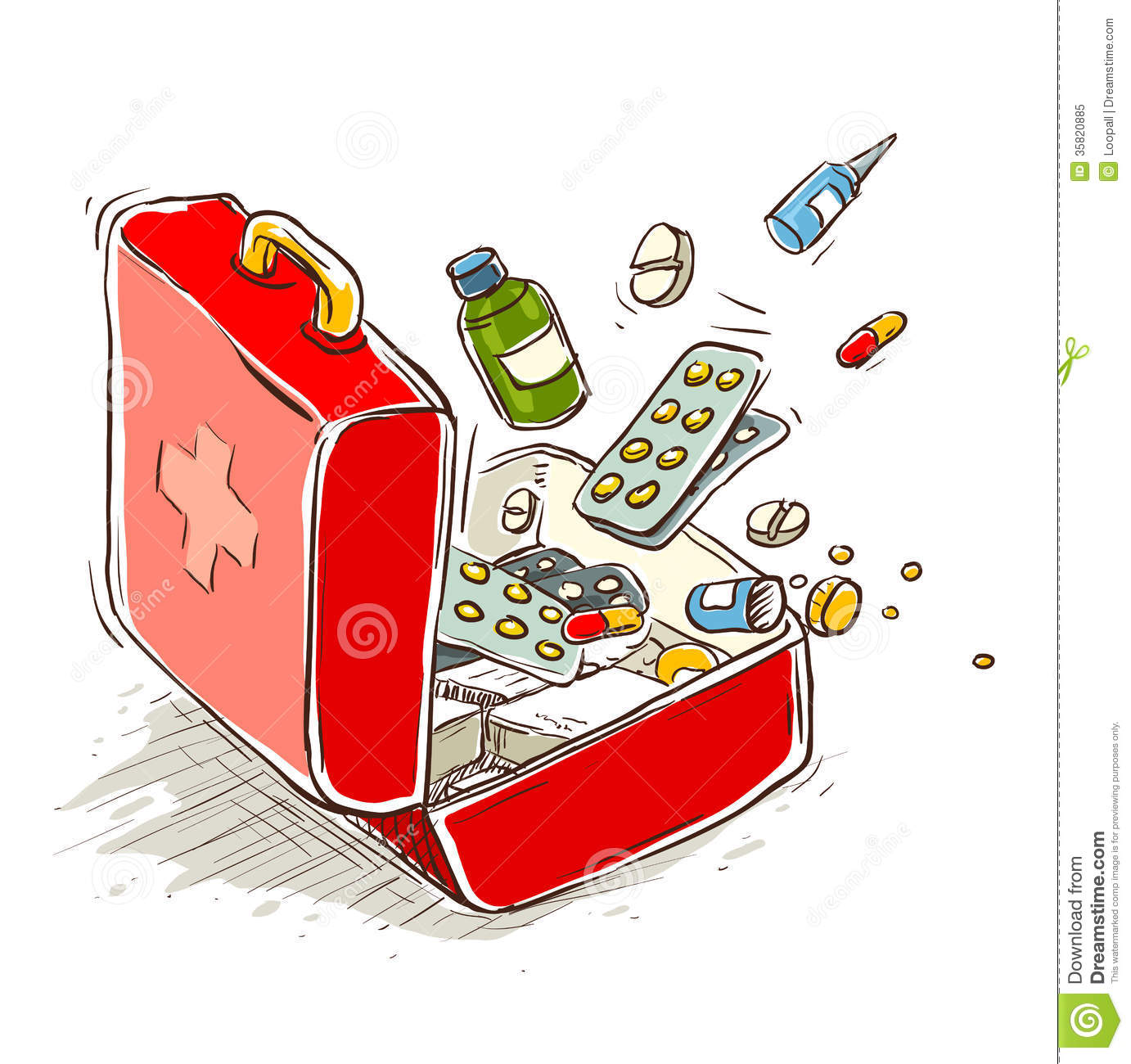 First aid box with medical drugs and pills. Eps10 vector illustration ...