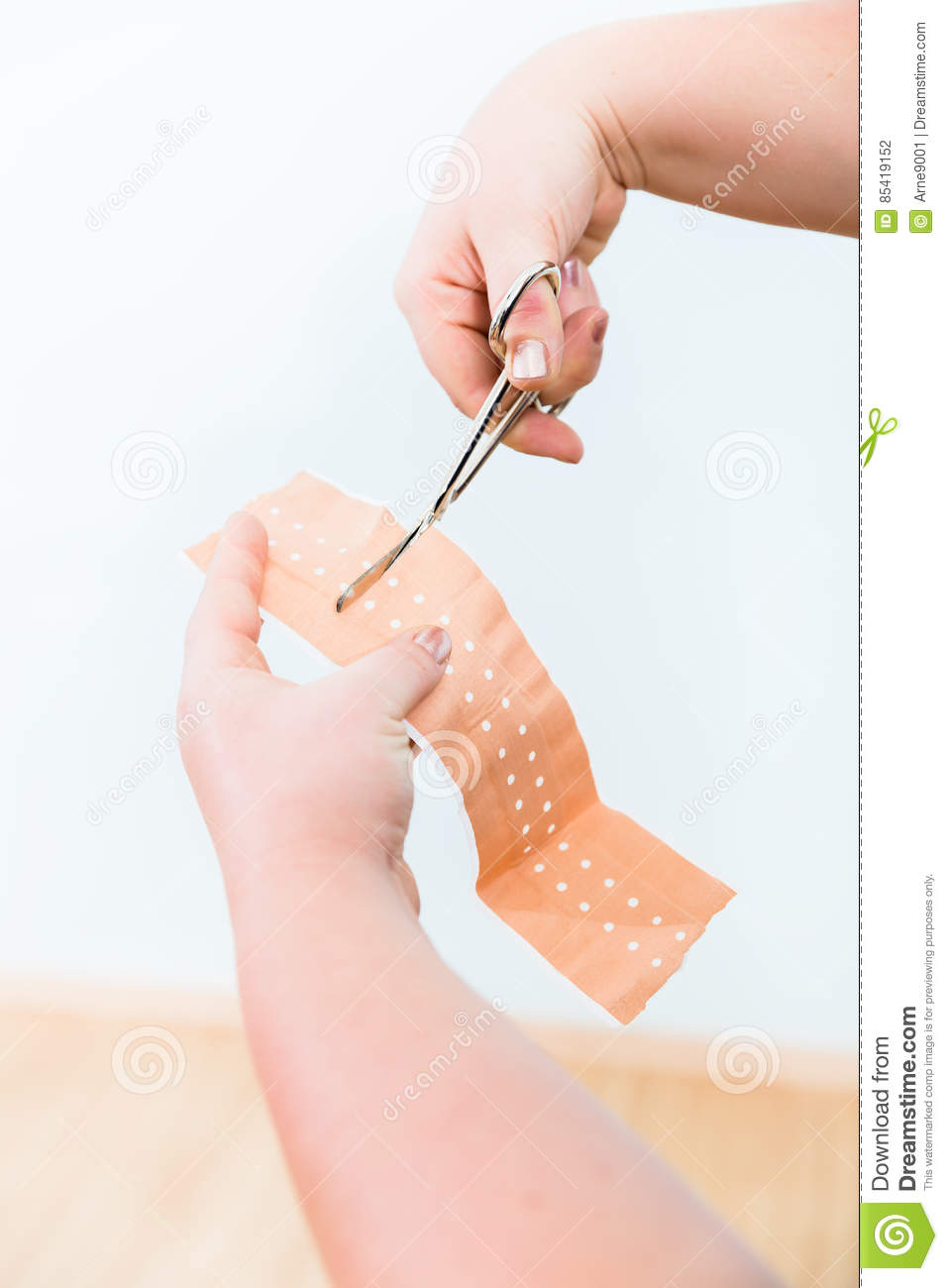 In First aid class, Cutting of patch for smaller lesions