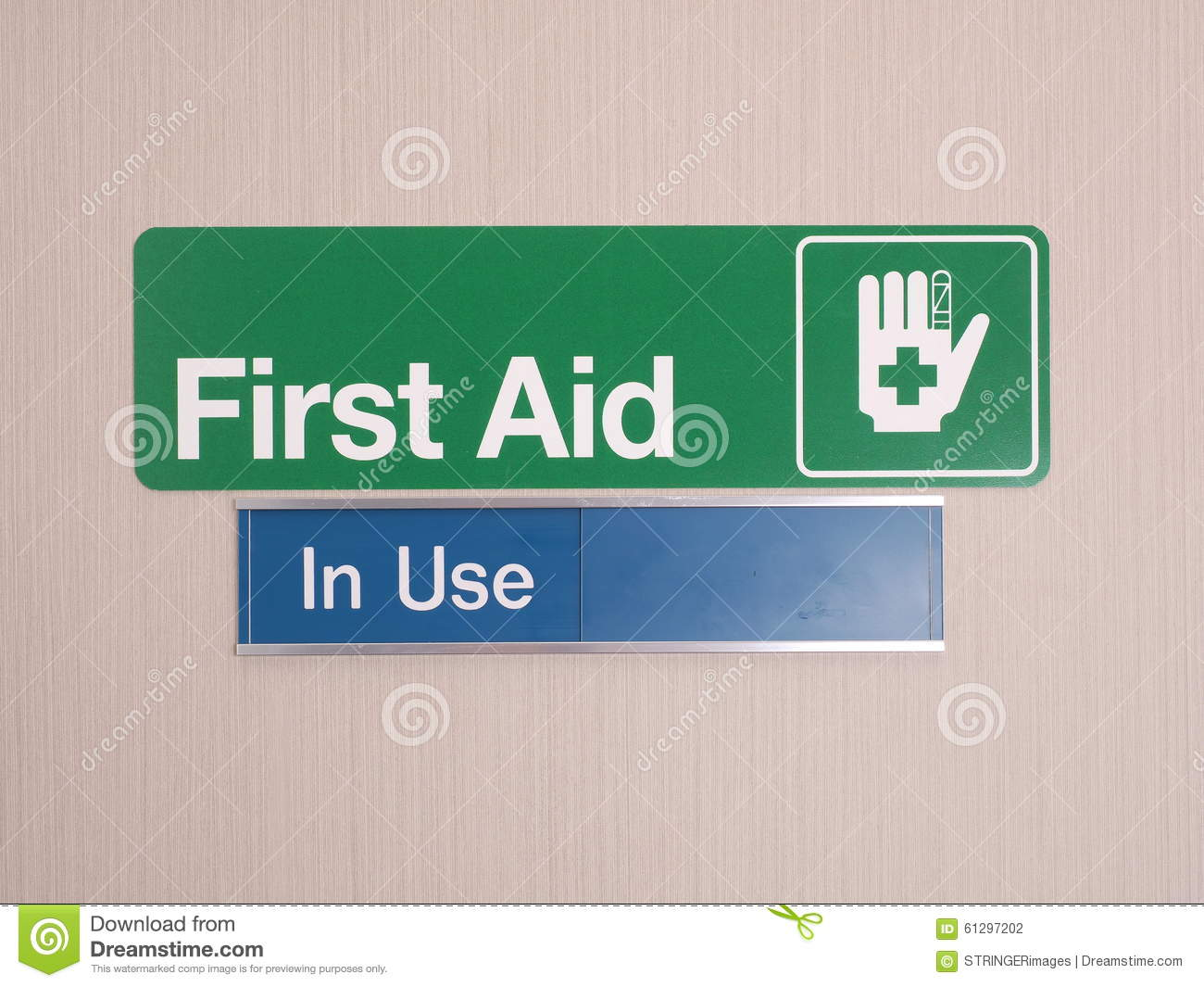 first aid door sign with occupied indicator stock photo image of