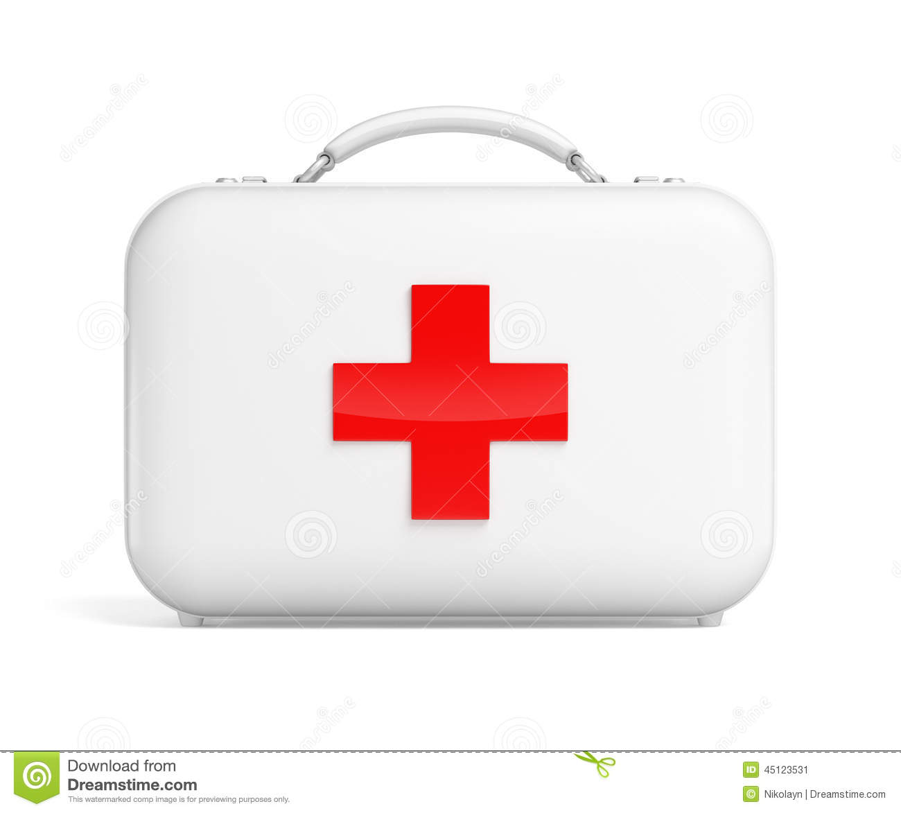 First aid kit bag with red cross isolated on white.
