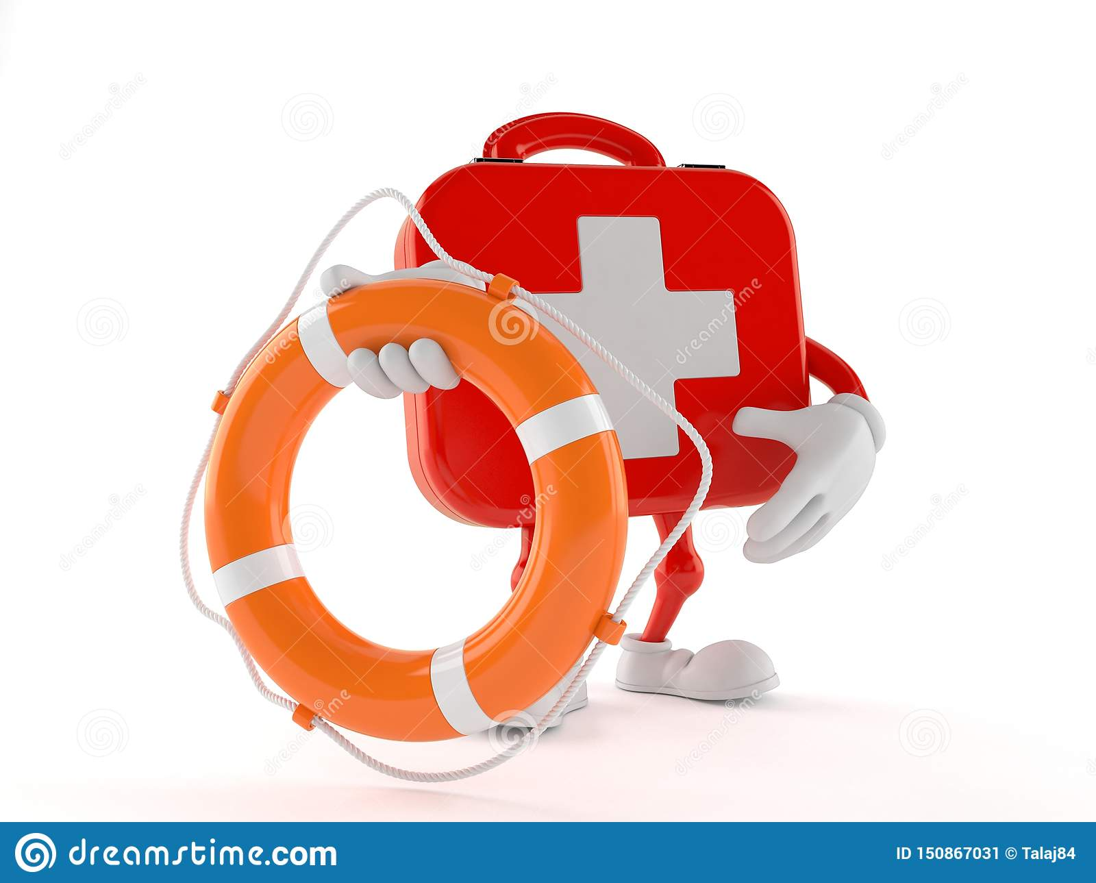 First aid kit character holding life buoy