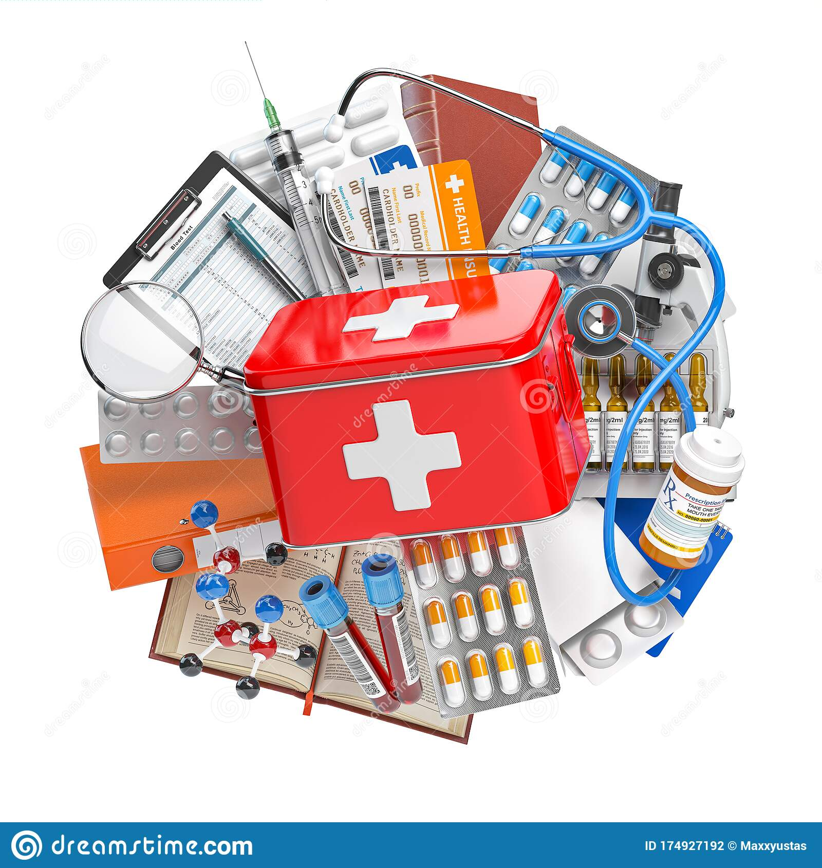 First Aid Kit With Medical Supplies And Equipment, Pills ...