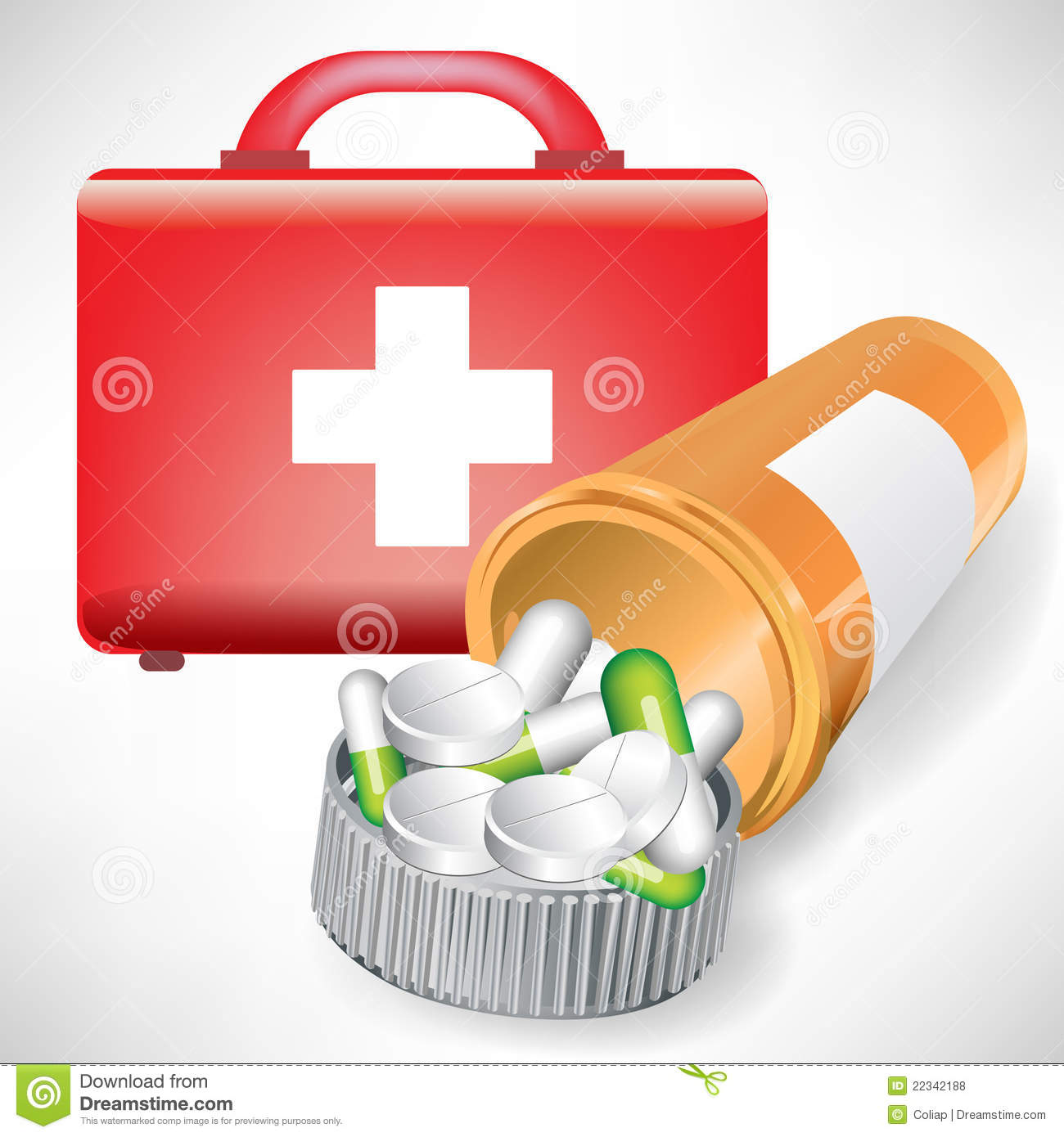 first aid kit and pill bottle royalty free stock photos