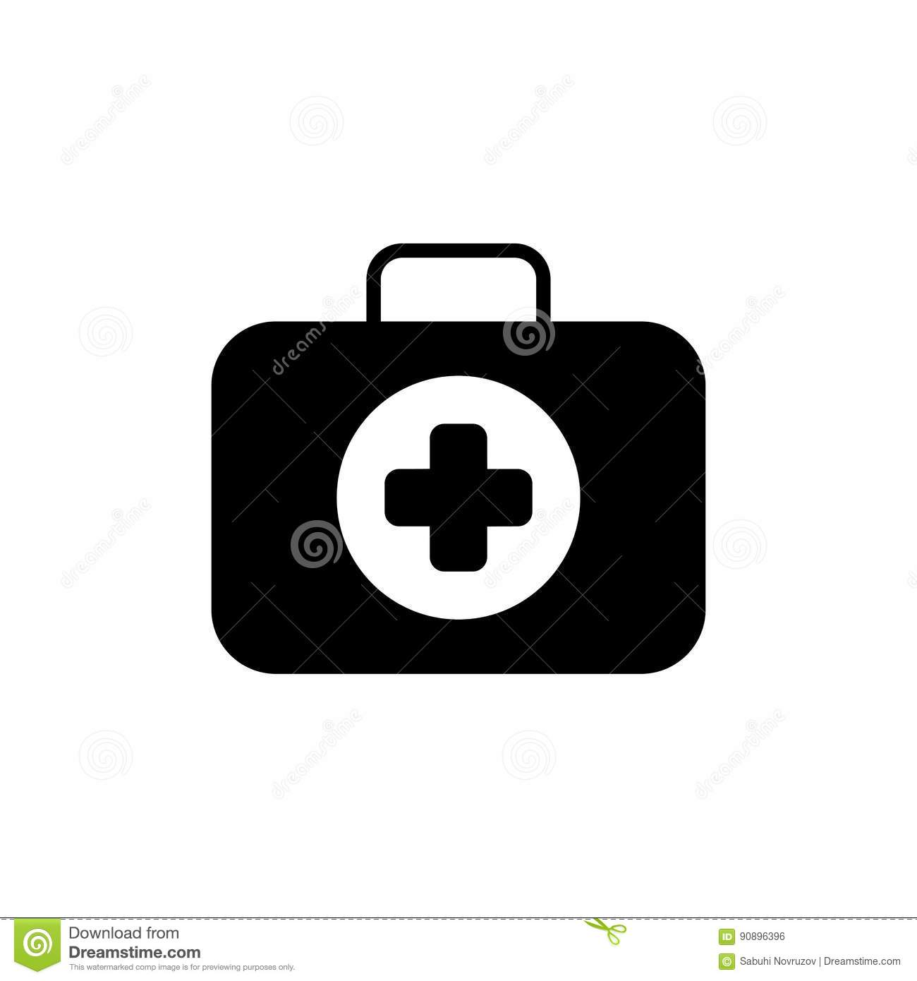 First Aid Kit Symbol and Medical Services Icon. Flat Design. Isolated.