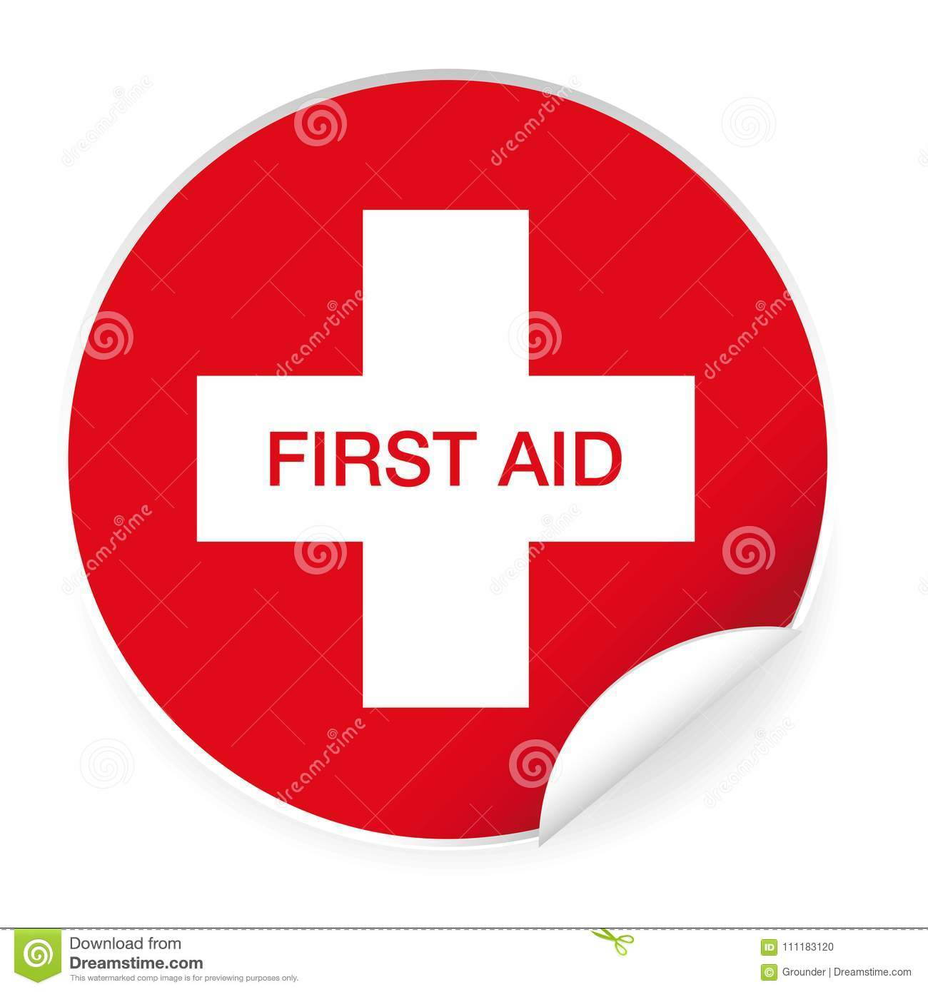 STICKER First AID sign ADESIVO segnaletica pronto soccorso 120x120 mm