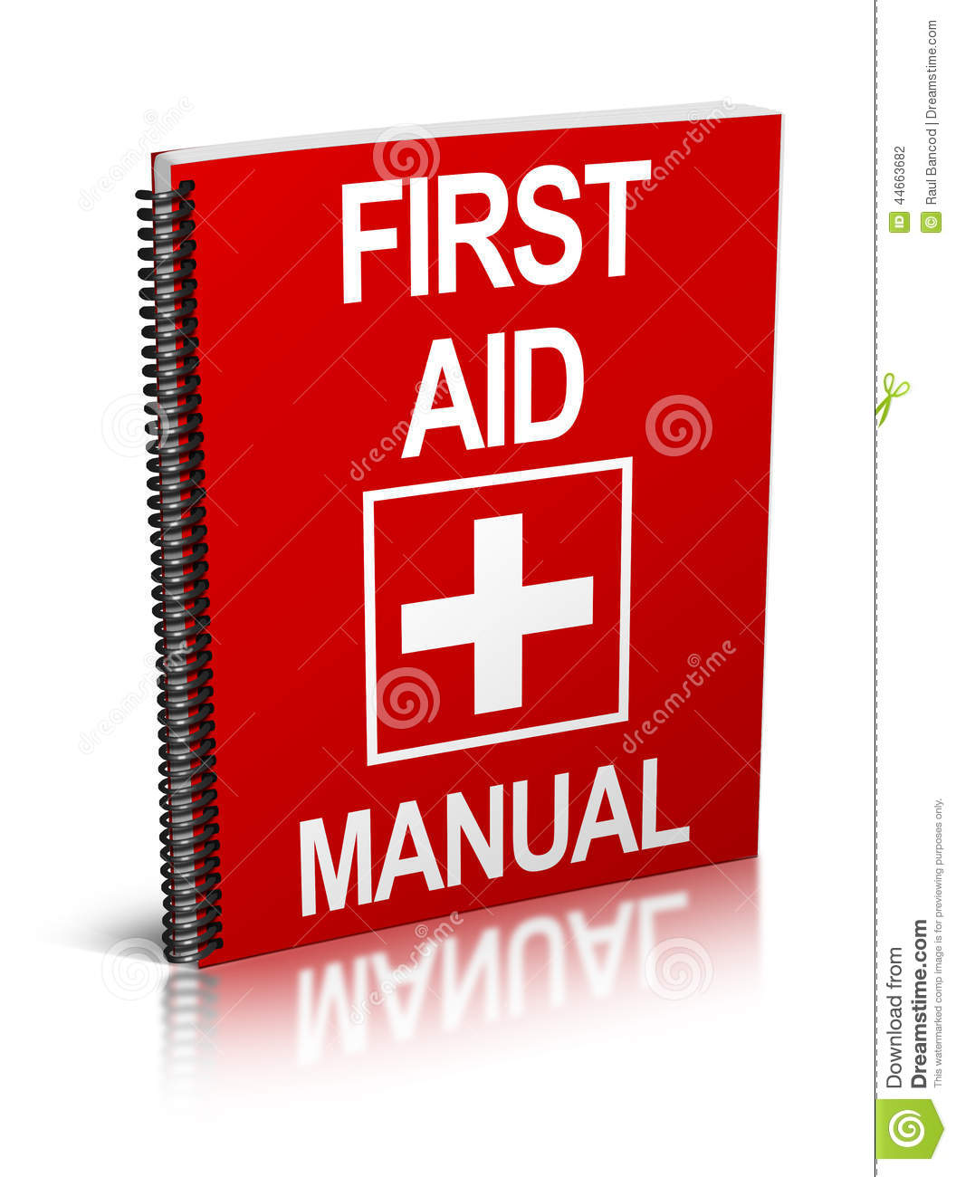 An illustration of a first aid manual / book. Isolated on white ...