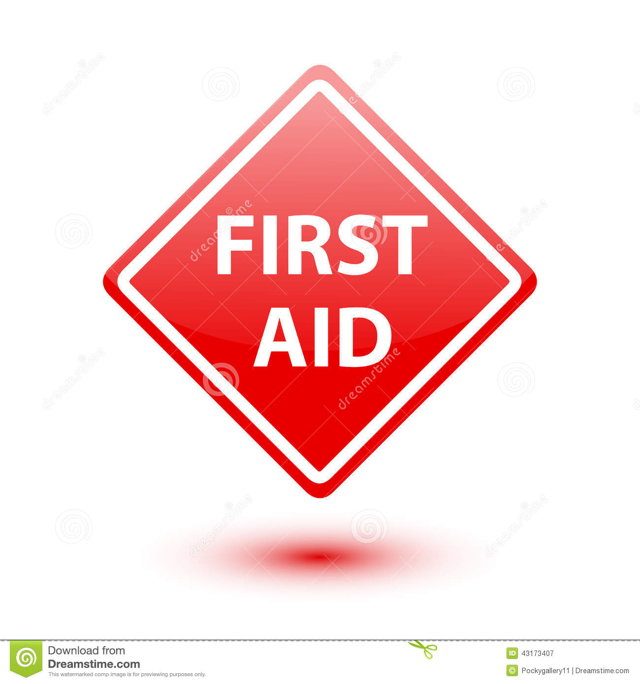 First aid red sign on white