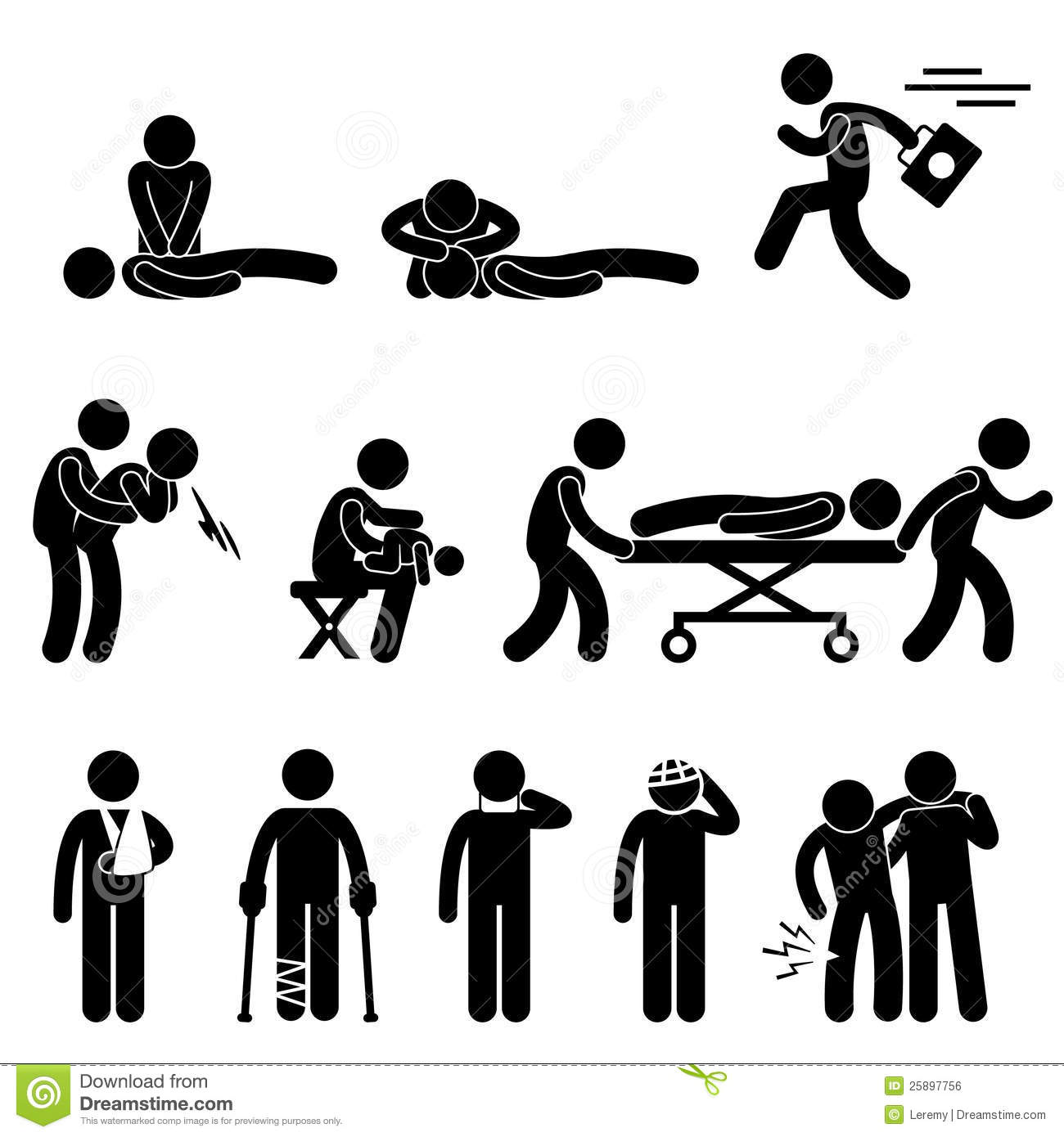 First Aid Rescue Emergency Help Cpr Pictogram Stock Vector