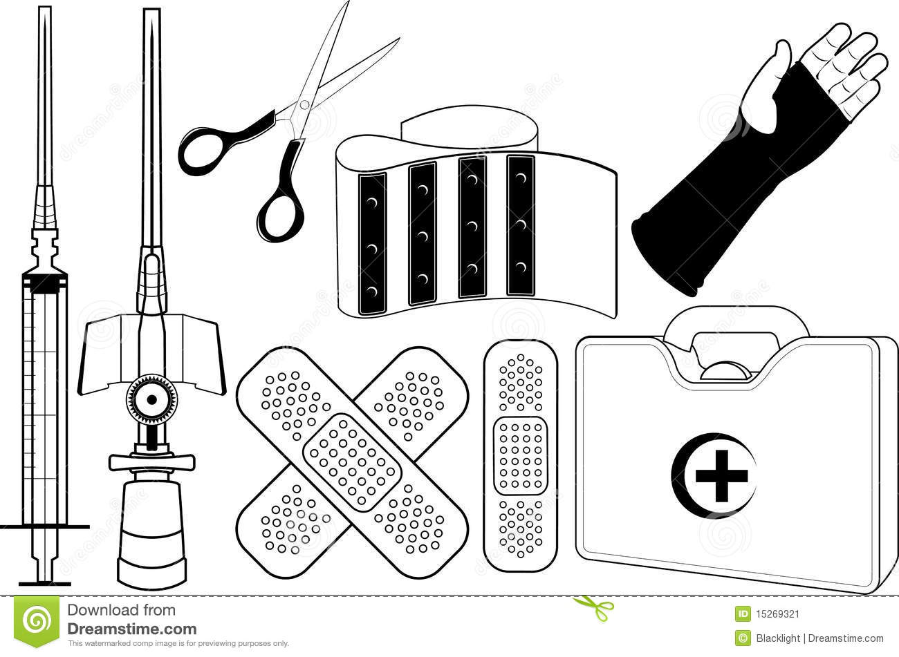 Vector draws in black and white First Aid Clipart Black And White
