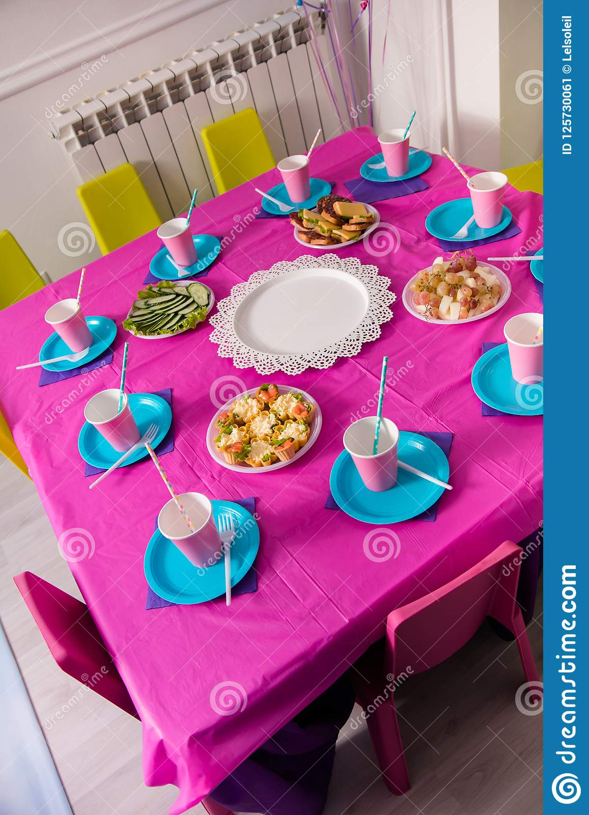 First Baby Girl Birthday Party Concept Table For Kids And Decor Items In Bright Pink