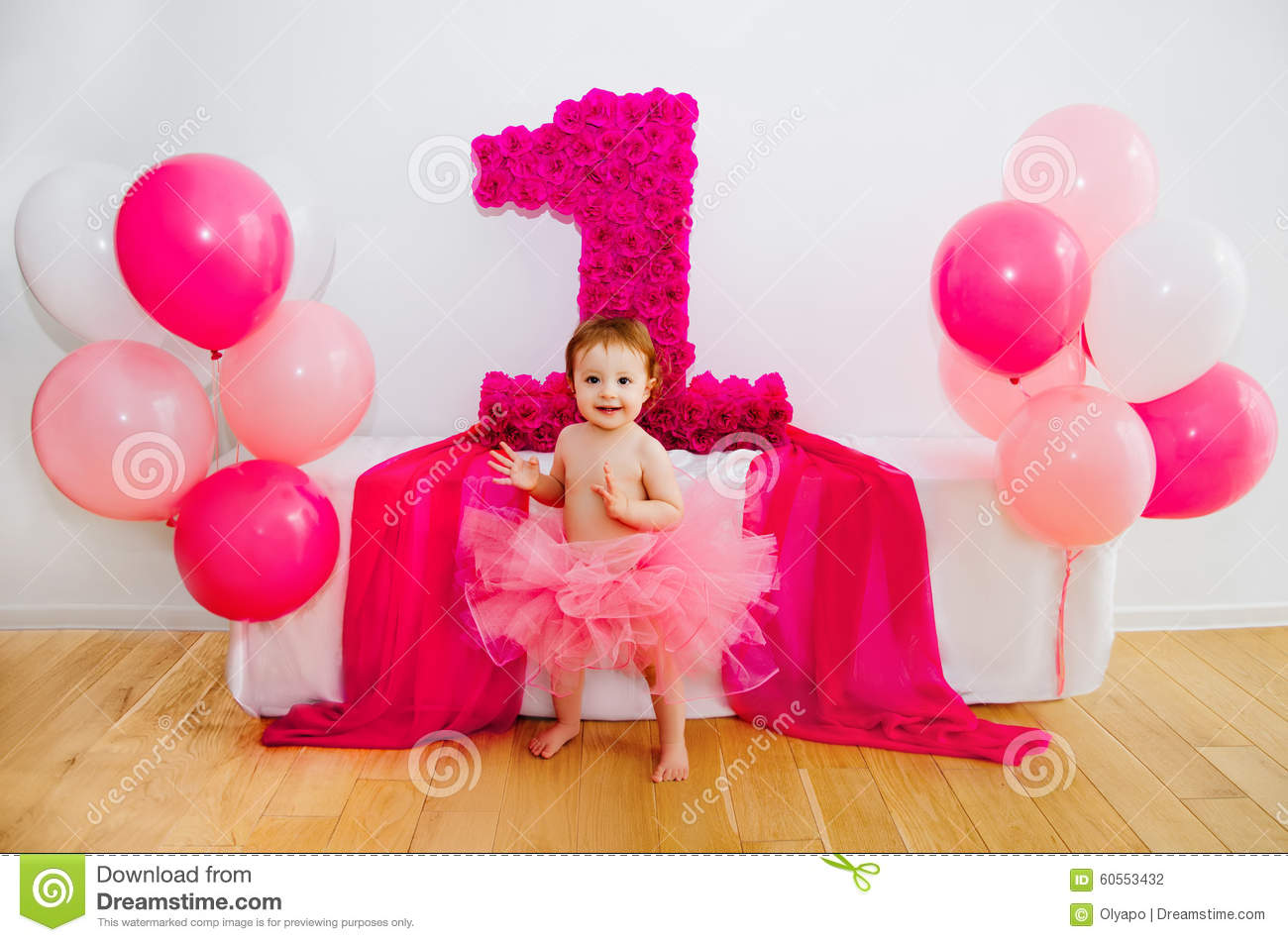 First Birthday Baby In Fluffy Pink Skirt With Balloons