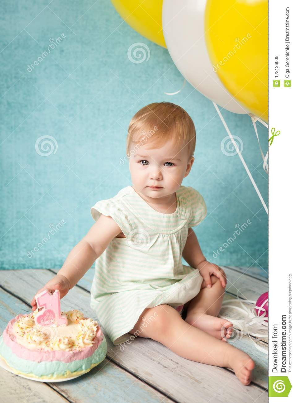 Fine First Birthday Party Cute Little Girl Stock Image Image Of Cake Funny Birthday Cards Online Elaedamsfinfo