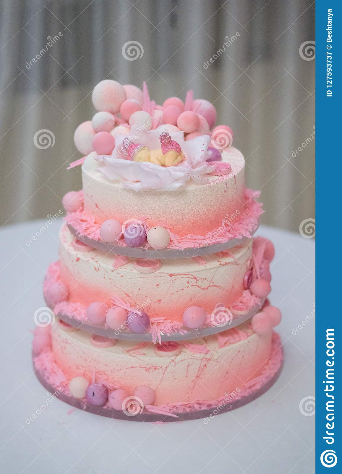 Beautiful Decorated Large Cake From Several Tiers For The First Birthday Of Little Princess
