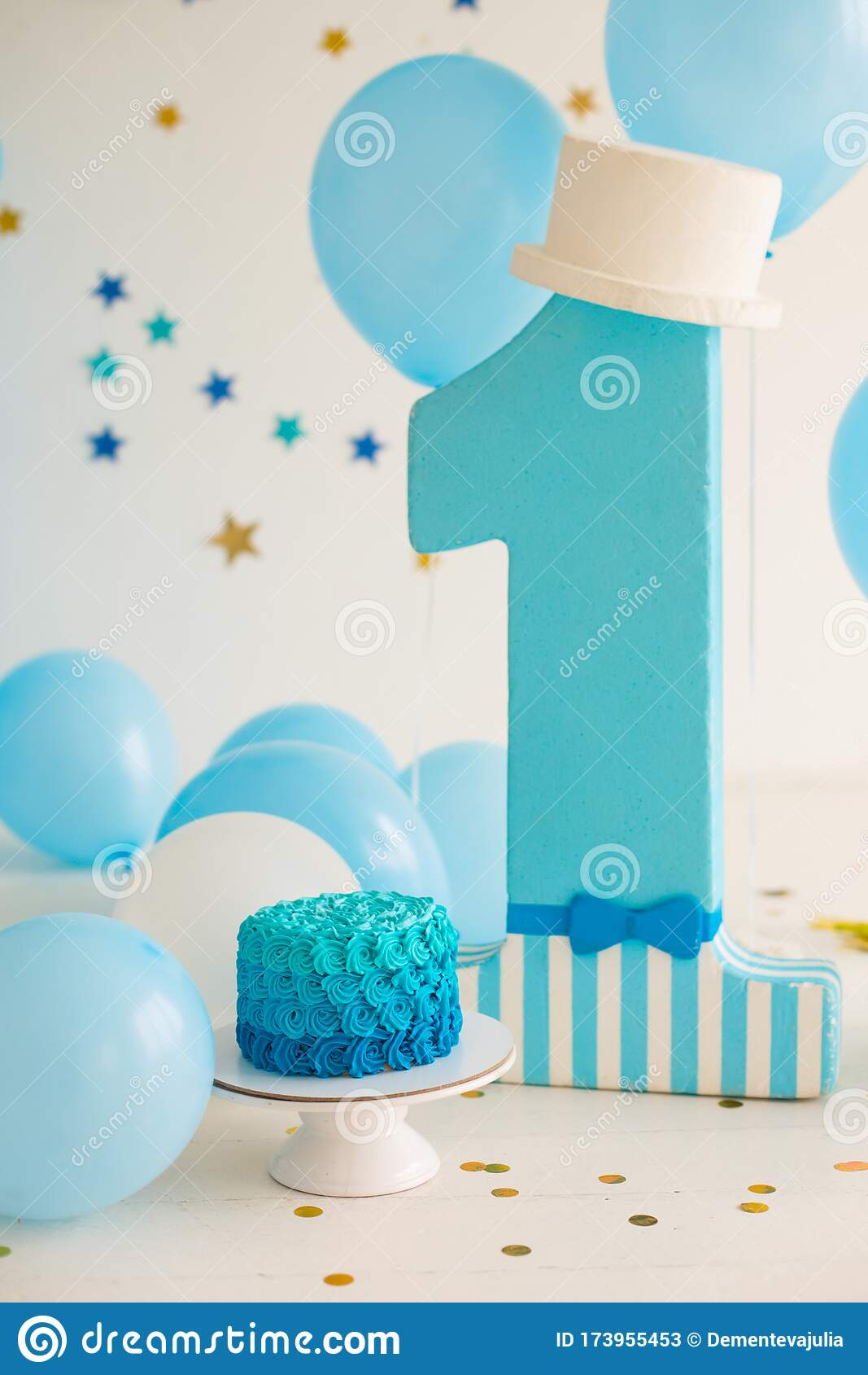 Remarkable First Birthday Cake For Boy Stock Image Image Of Decor Dessert Funny Birthday Cards Online Elaedamsfinfo