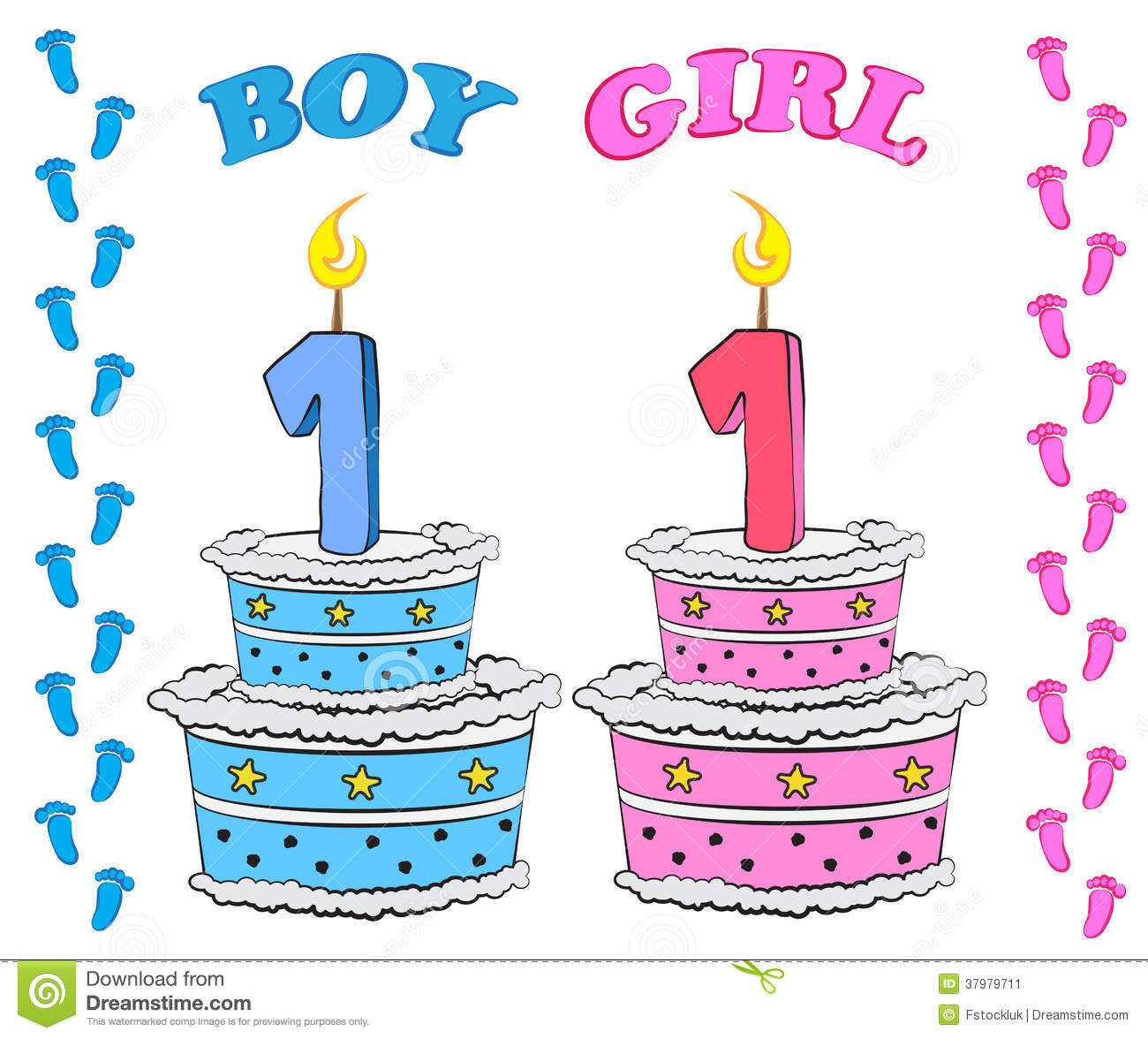 First Birthday Cake For Boy And Girl Stock Vector Image