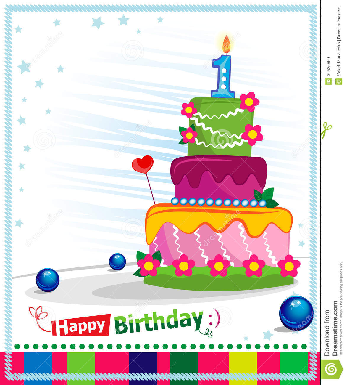 First Birthday Cake Children Postcard Royalty Free Stock