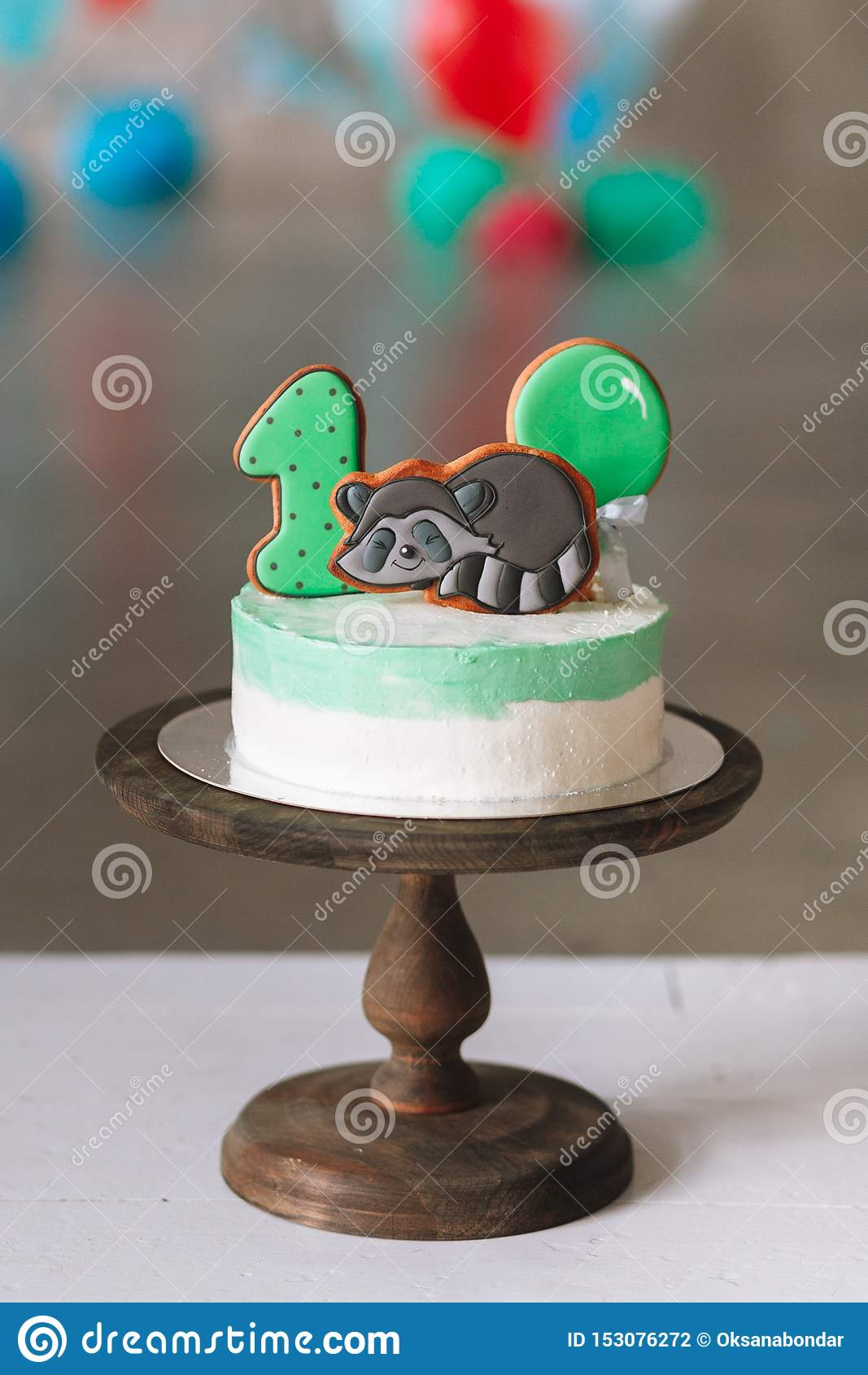 Astounding First Birthday Cake Isolated On White Background Stock Photo Personalised Birthday Cards Petedlily Jamesorg