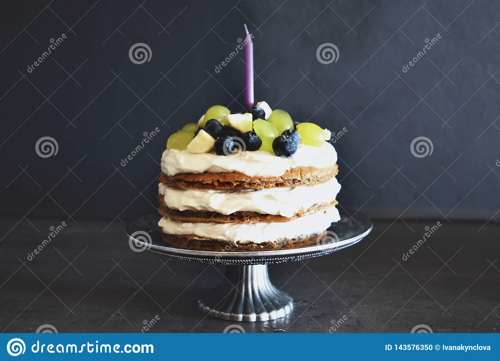 Fabulous First Birthday Cake Stock Photo Image Of Candle Silver 143576350 Funny Birthday Cards Online Ioscodamsfinfo