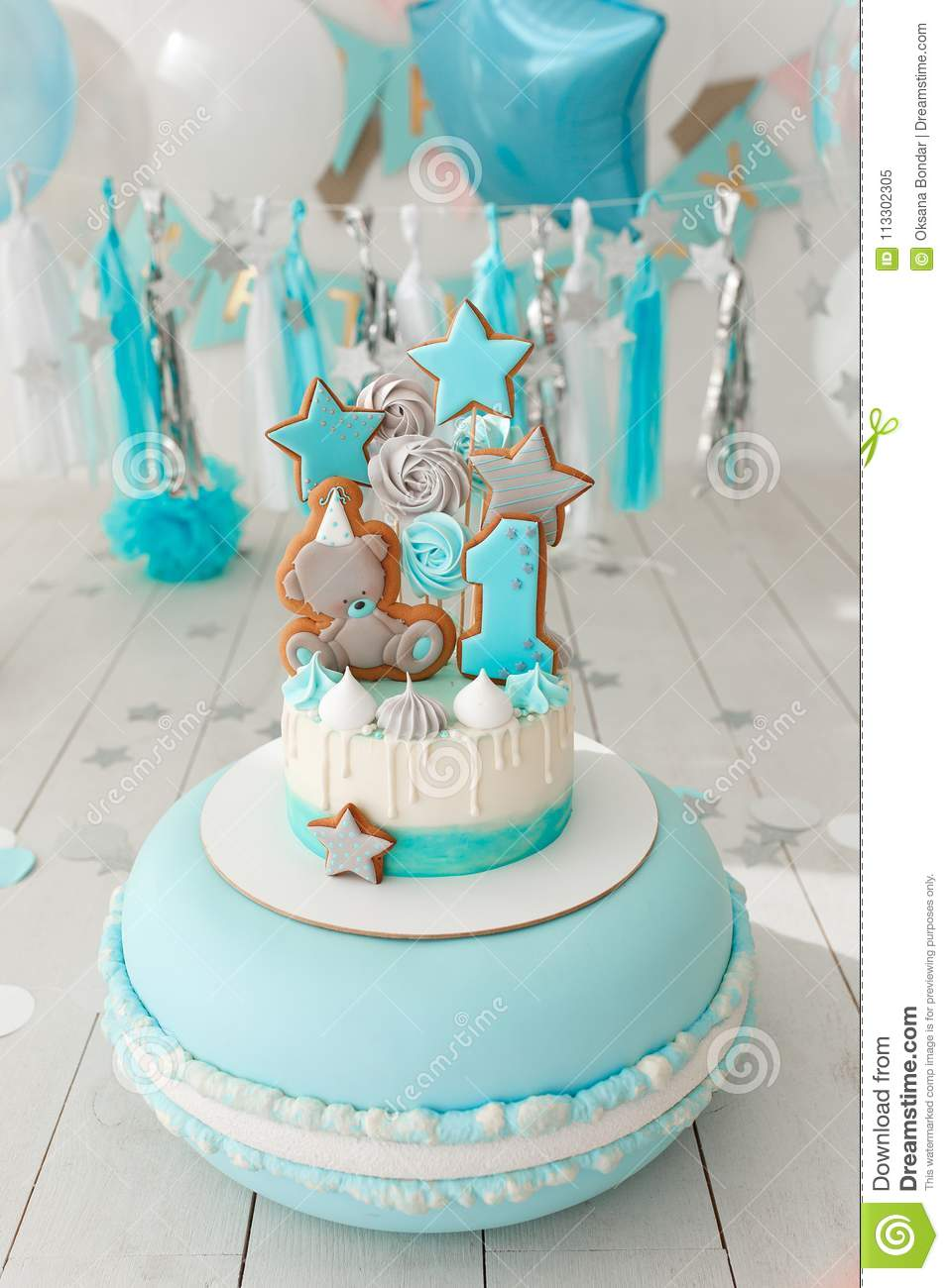 First Birthday Cake With White And Blue Decor Stock Image Image Of