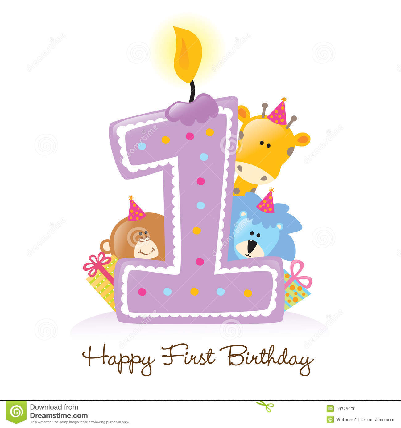 First Birthday Candle With Animals Stock Photo - Image: 10325900