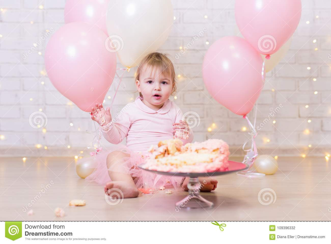 Wondrous First Birthday Celebration Funny Little Girl With Smashed Cake Funny Birthday Cards Online Overcheapnameinfo