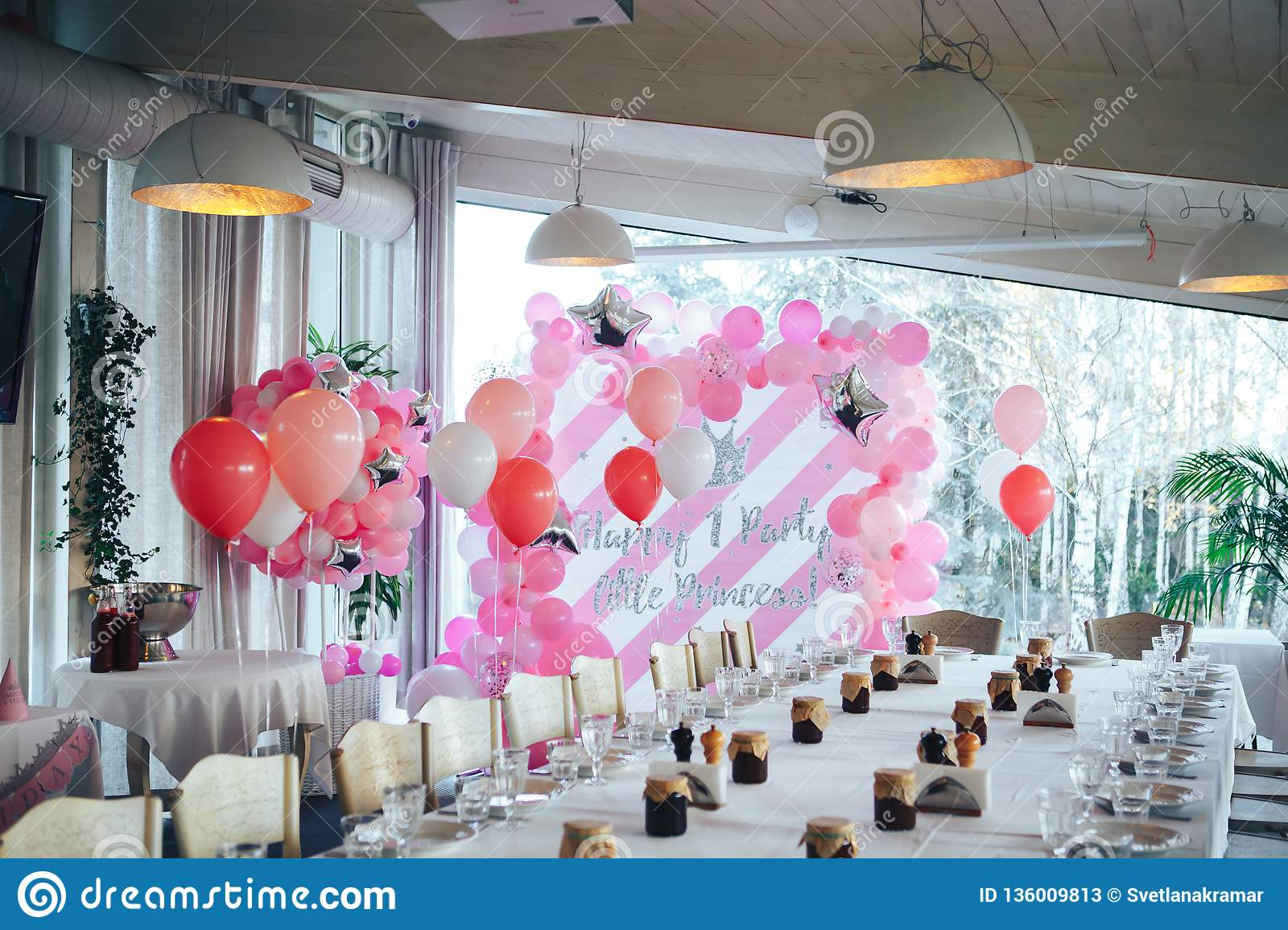 First Birthday Decorations For The In Restaurant Pink And White Balls