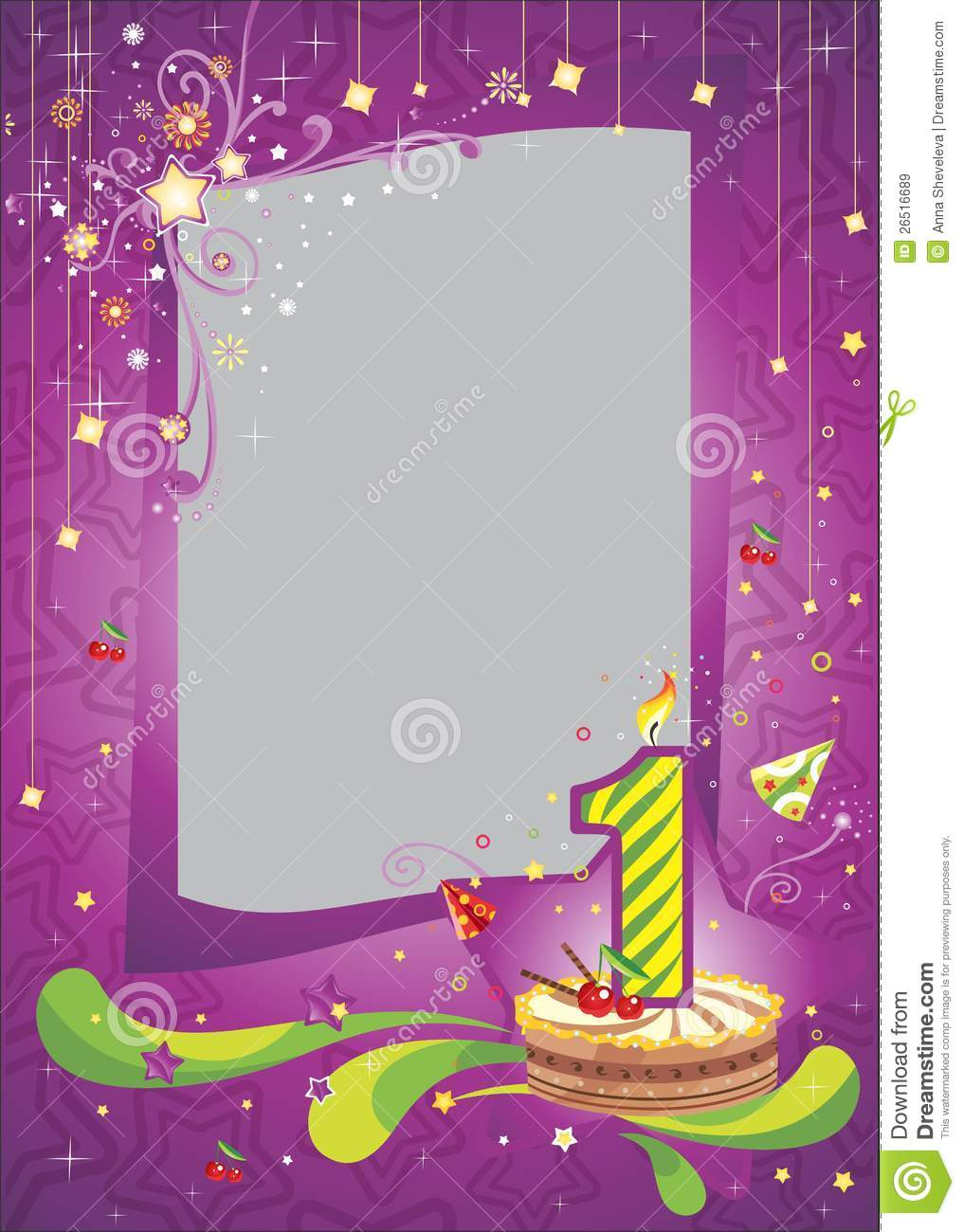 First Birthday Frame Stock Vector Image Of Birthday