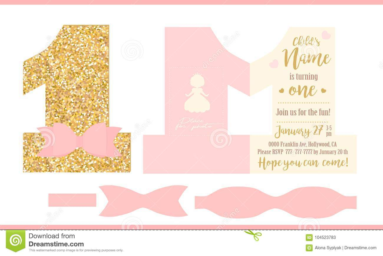 download first birthday girl party printable invitation card for little princess gold glitter and - Printable Invitation Card Stock