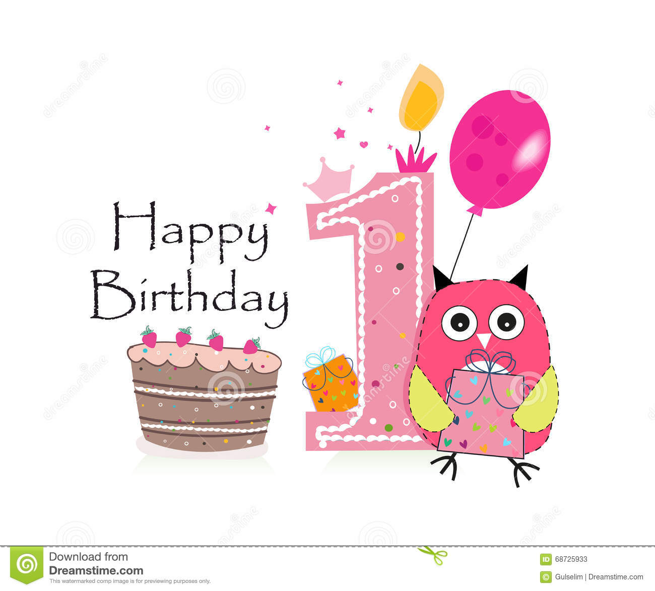 First Birthday Greeting Card. Cute Pink Owl, Balloon And Birthday Cake Vector...